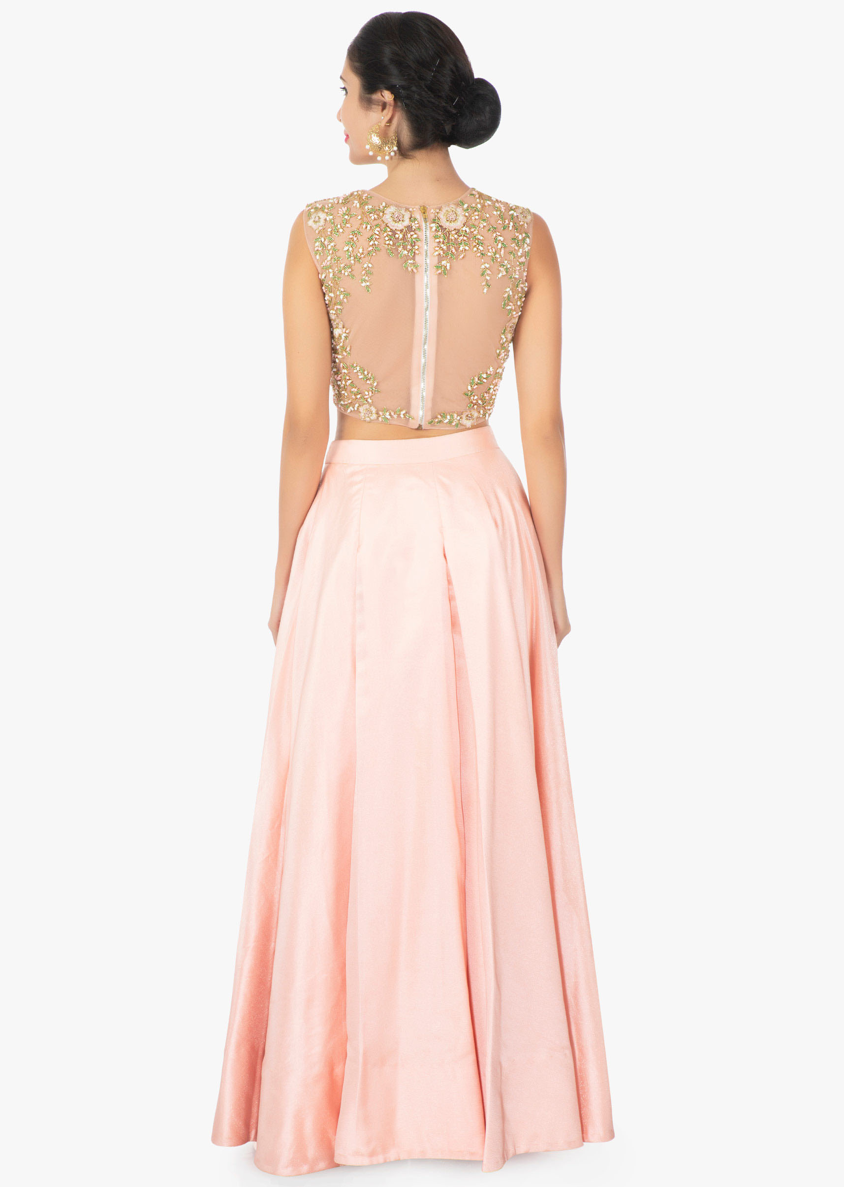 fae3176a74b96 Peach satin skirt with a illusion neck satin and net blouse only on Kalki
