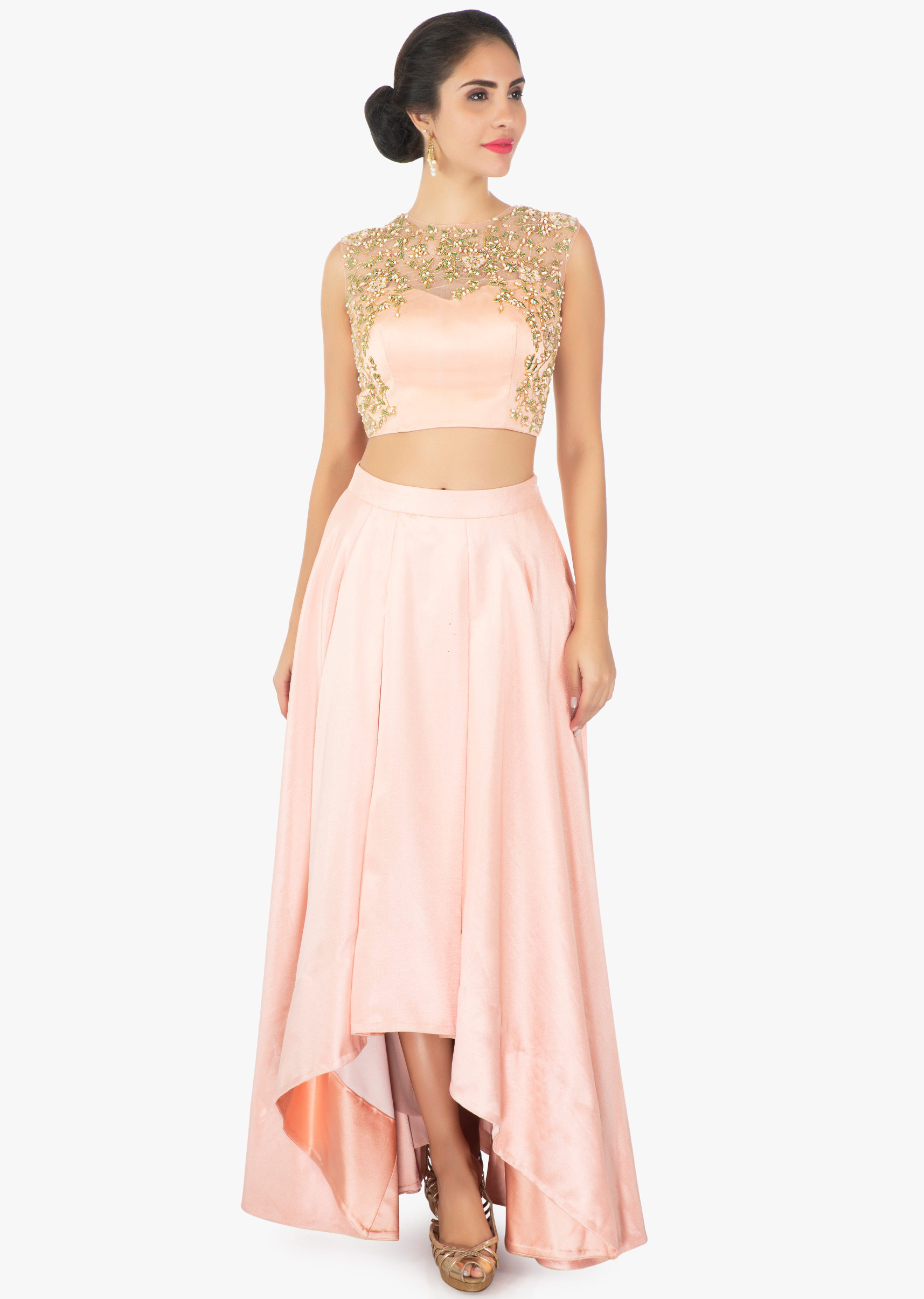 fbe305f9d0f97 Peach satin skirt with a illusion neck satin and net blouse only on KalkiMore  Detail