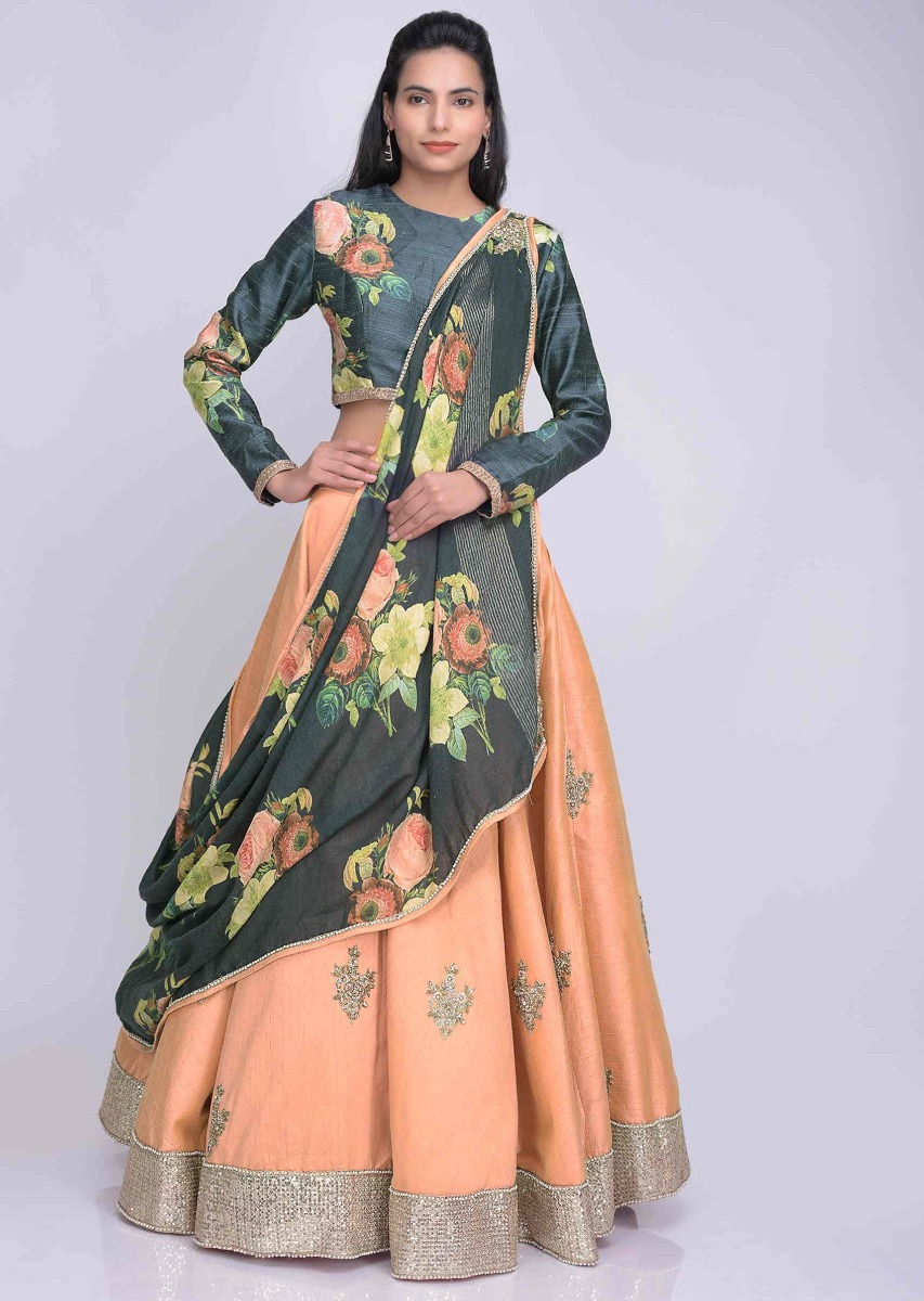 099a868c81 Peach two toned raw silk lehenga with printed draped cotton dupatta only on  Kalki