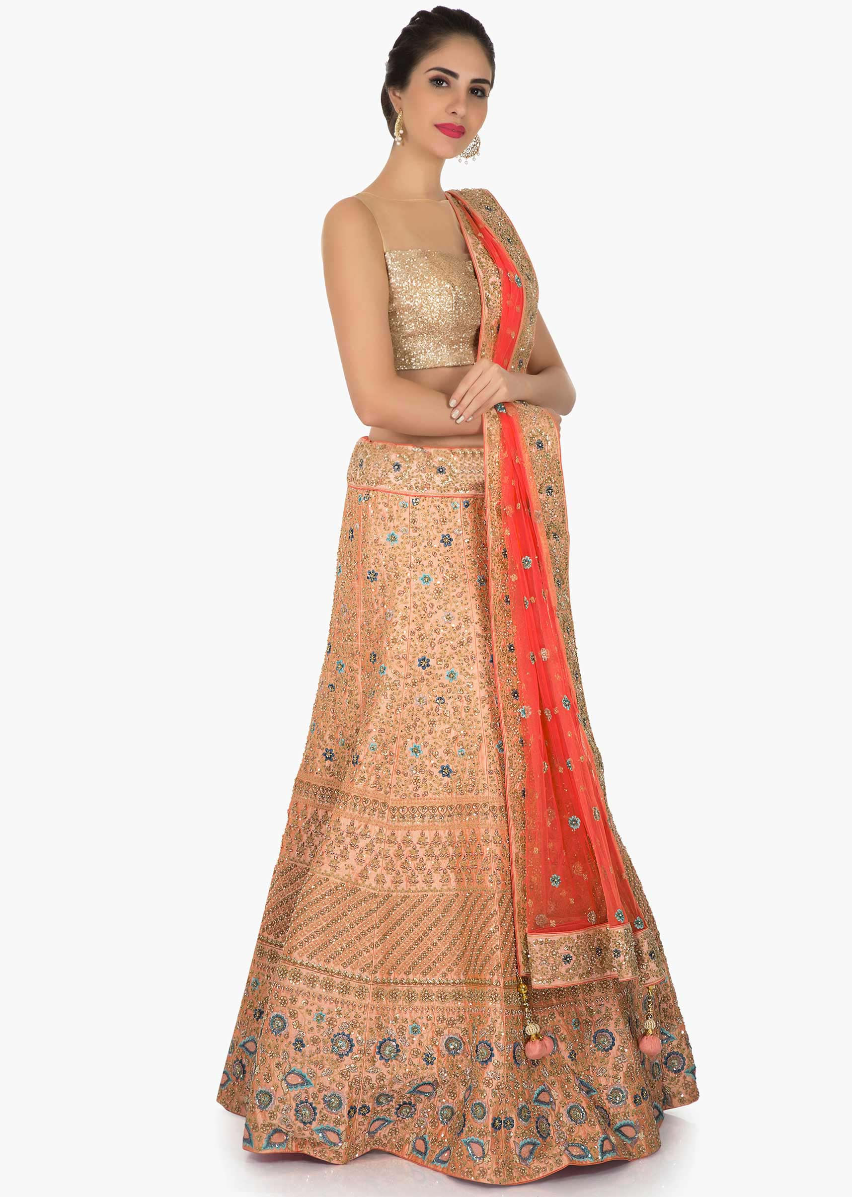 73c63068a7f626 Peach lehenga in raw silk adorn with resham zari embroidery only on KalkiMore  Detail