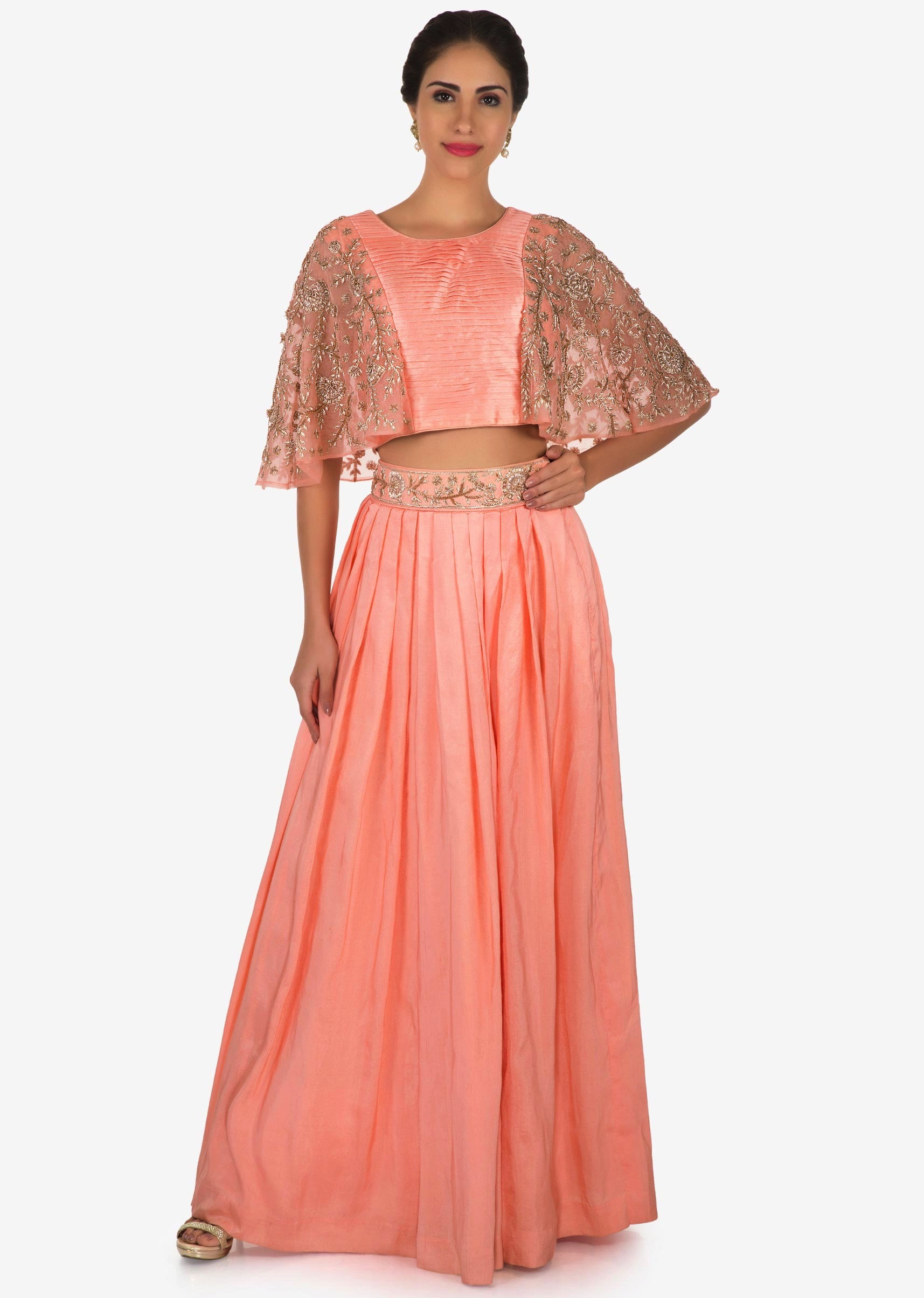38e00f5bb2d1c Peach skirt and top in chiffon enhanced with zardosi and cut dana  embroidery work only on KalkiMore Detail