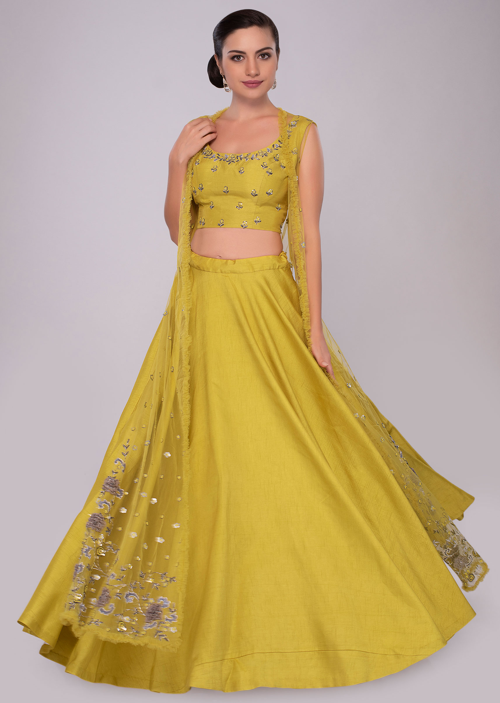 c92c3c7d1fca20 Pine yellow raw silk lehenga set with embroidered net jacket only on KalkiMore  Detail