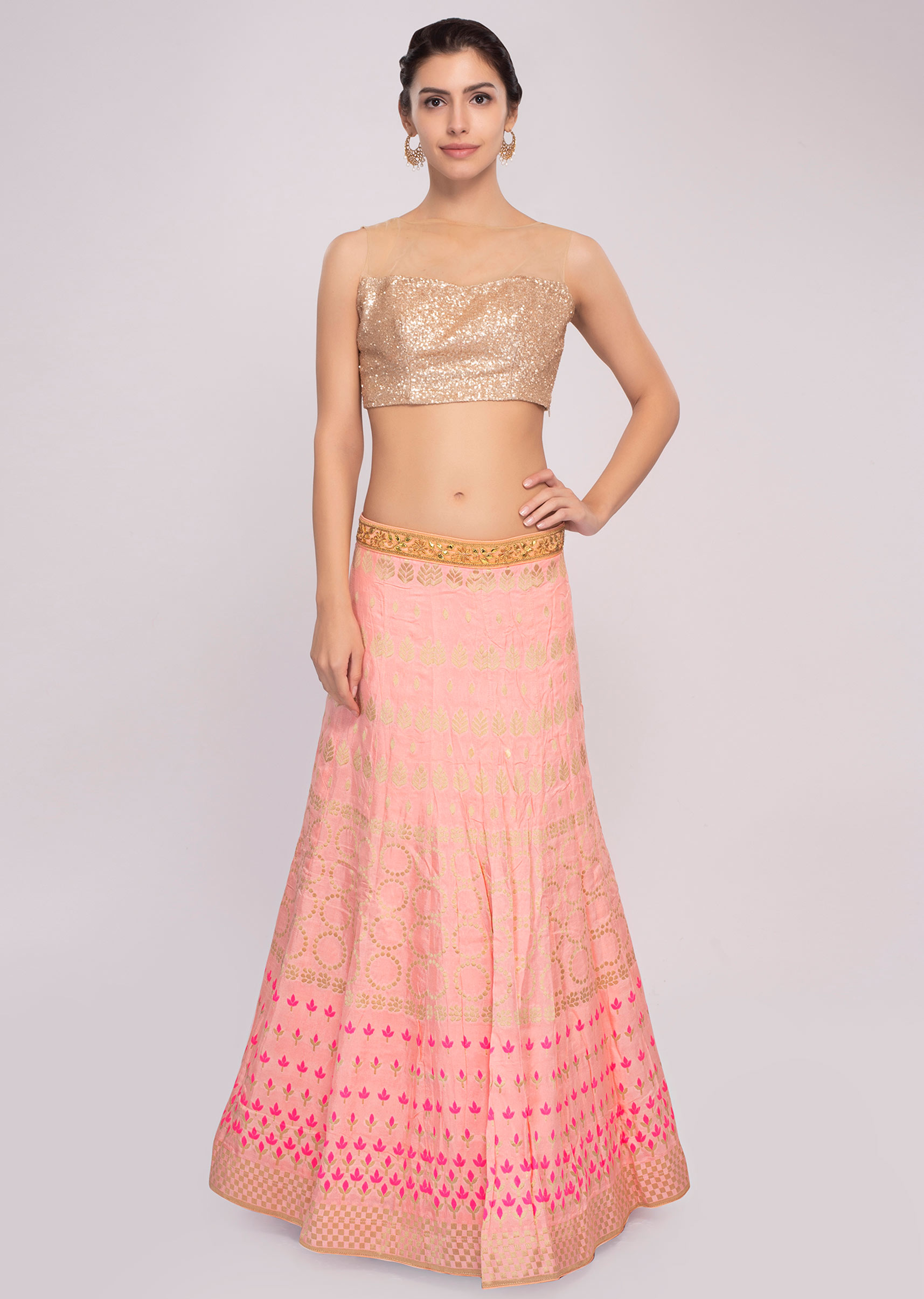 f0d0cb0b47 Pink cotton silk weaved lehenga with mint green dupatta and unstitched  powder pink blouse only on Kalki