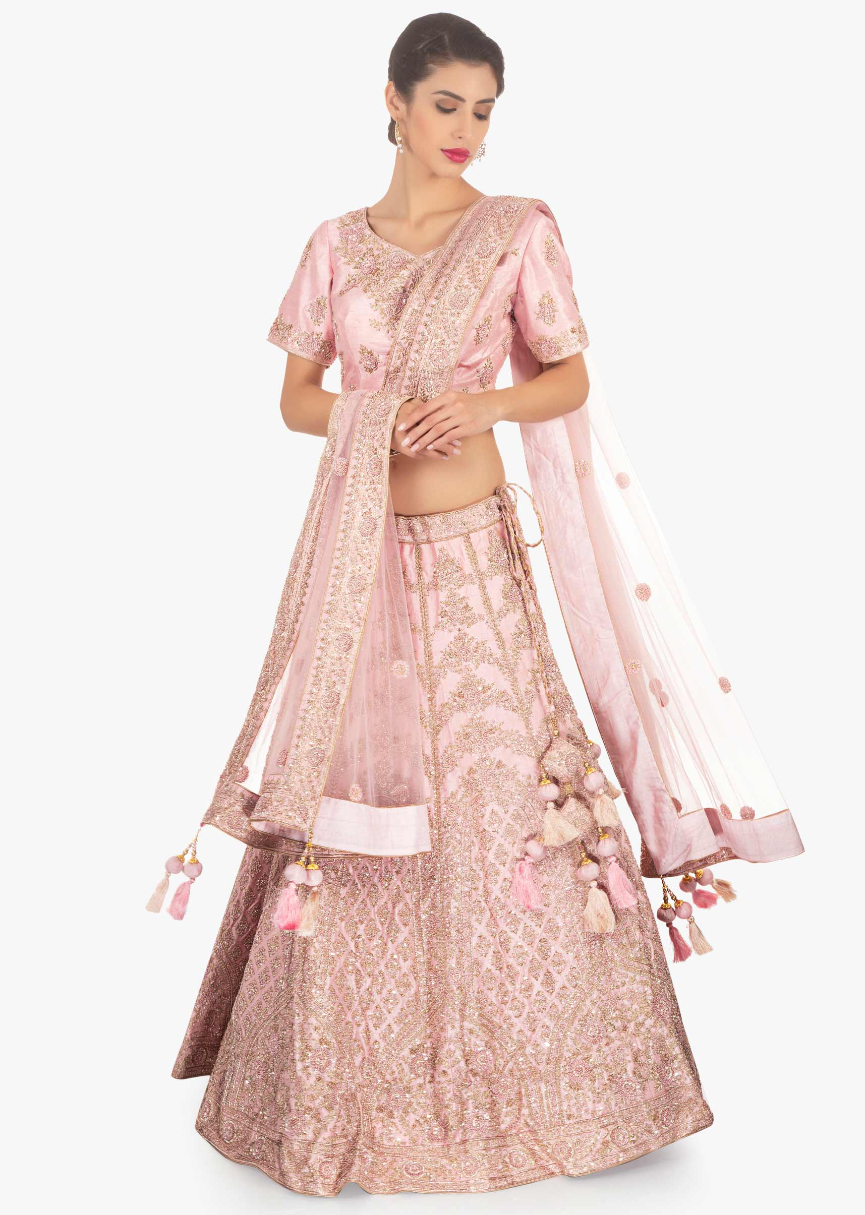 c61cc57da0 Pink raw silk embellished lehenga set paired with net dupatta only on KalkiMore  Detail