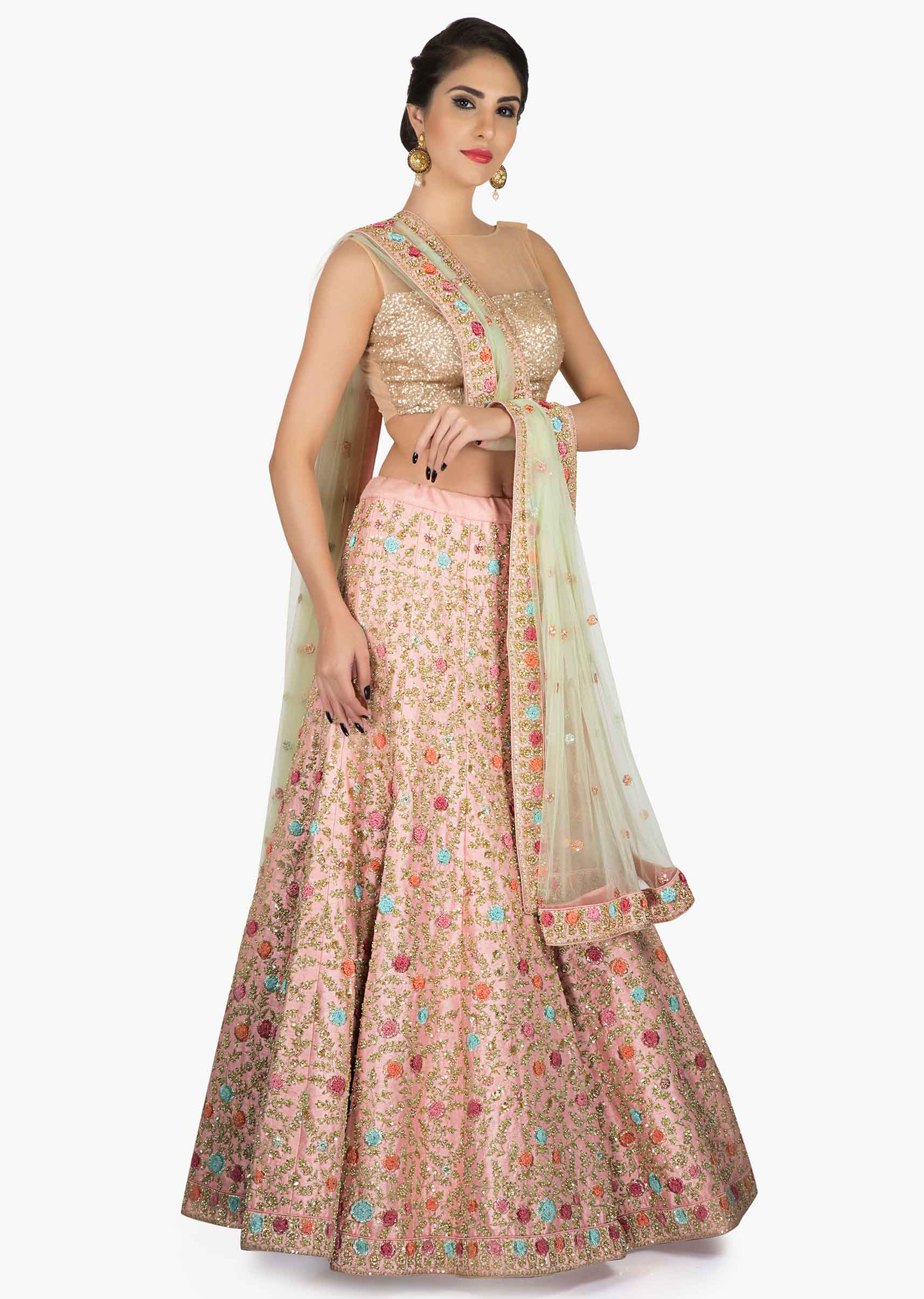 2ca6f1eaa4 Pink Silk Lehenga Balanced with a Pink net Dupatta Embellished in Resham  and Zardosi Work only