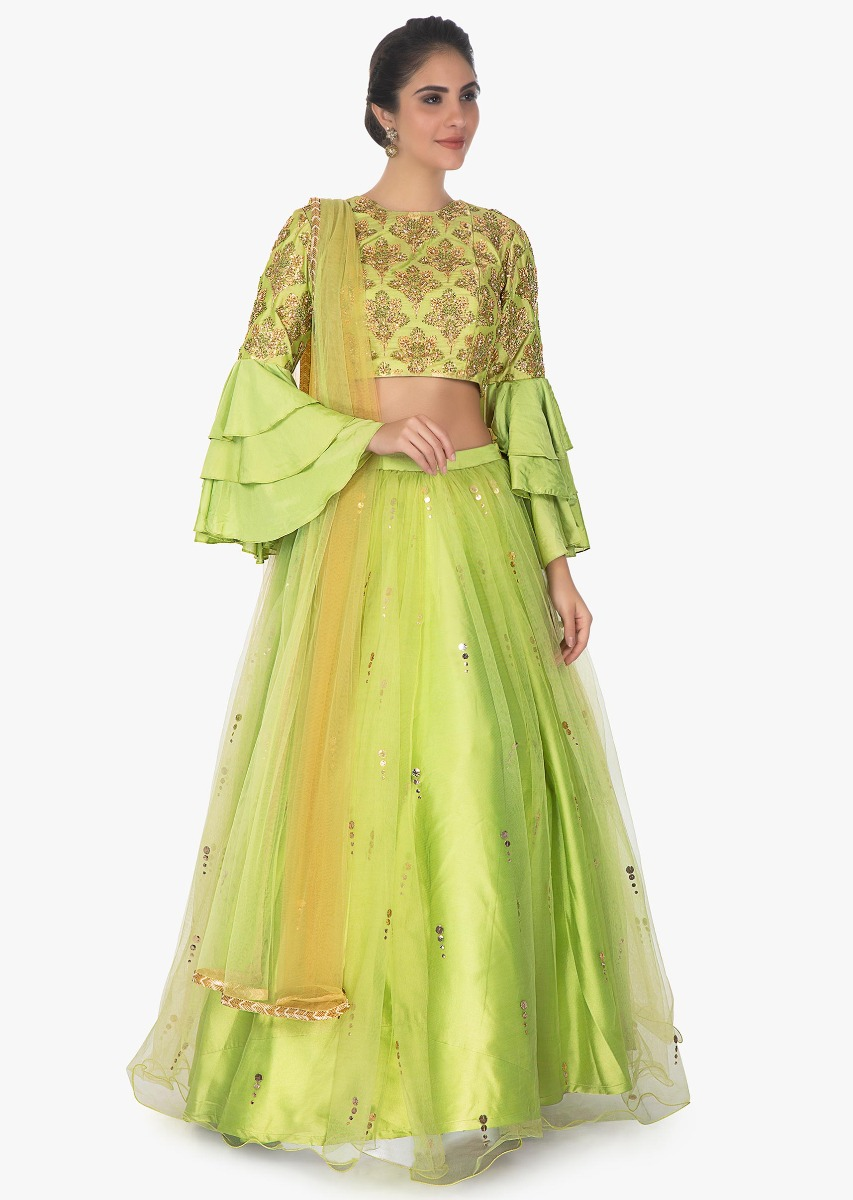 3162de22f4e32 Pista green brocade crop top in layered sleeves with satin net skirt only  on Kalki