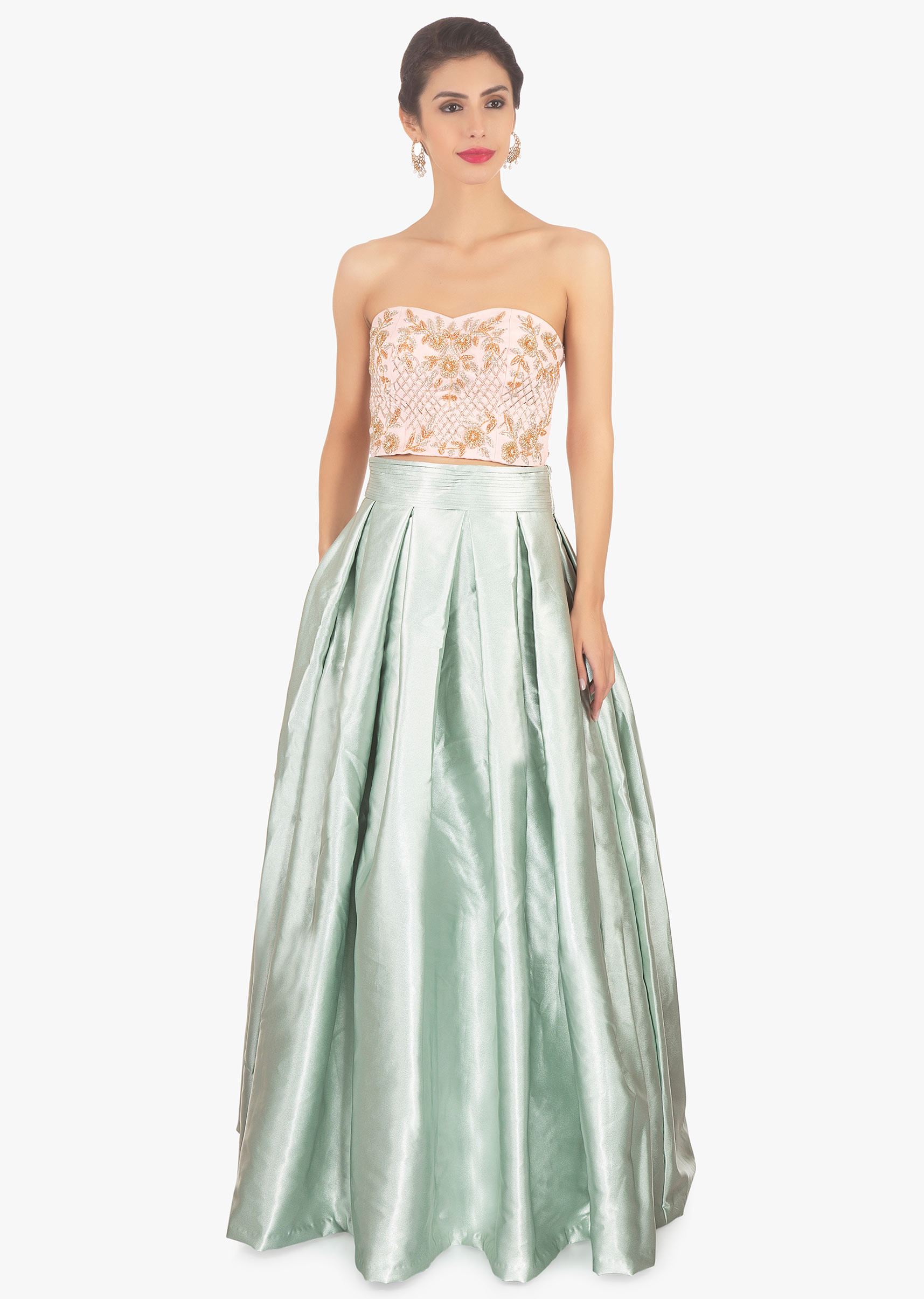 c309a6f24f87b Pista green skirt paired with a strapless crop top and pink organza jacket  only on Kalki