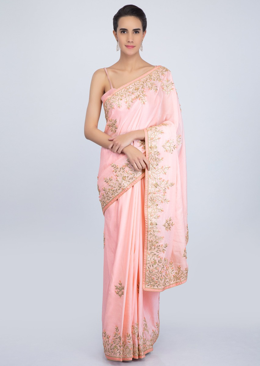 d59655833e18aa Powder pink cotton silk saree with gotta patch embroidered butti and border  only on KalkiMore Detail