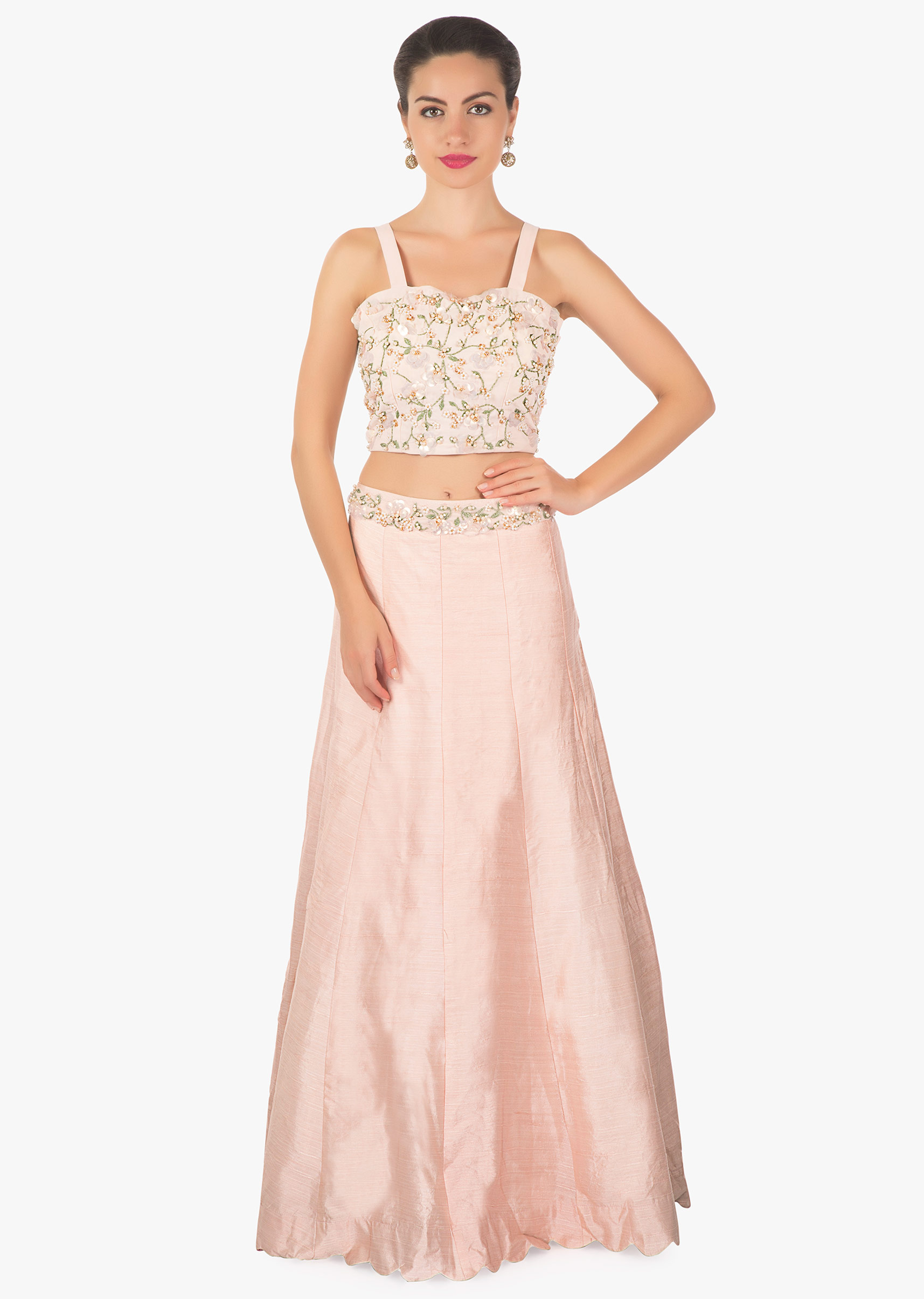 12e431c2cb9a82 Powder pink lehenga matched with crop top blouse and long embroidered jacket  only on KalkiMore Detail