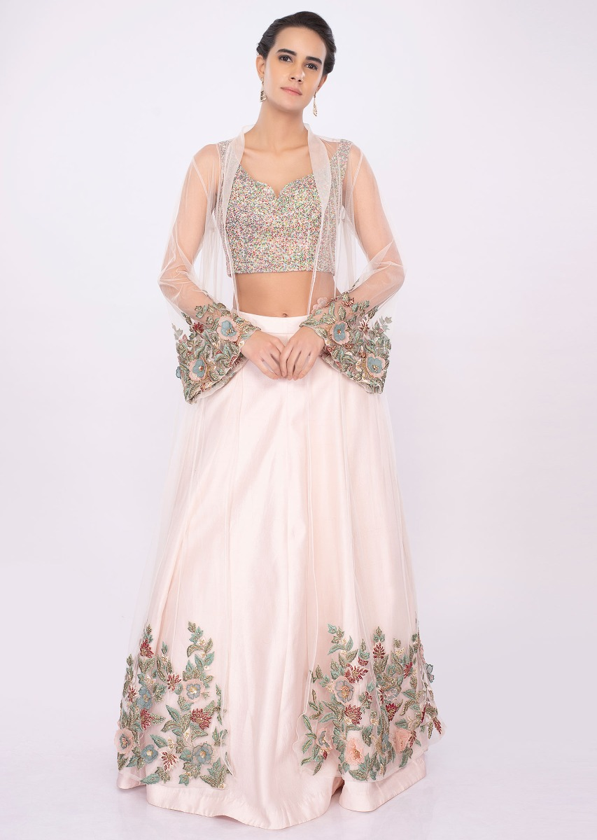 0e53711b17fcbd Powder pink lehenga with fancy fabric blouse and net embroidered jacket only  on kalkiMore Detail