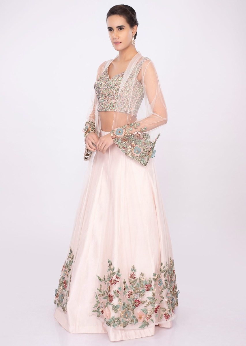 12f17c0918479c Powder pink lehenga with fancy fabric blouse and net embroidered jacket only  on kalki
