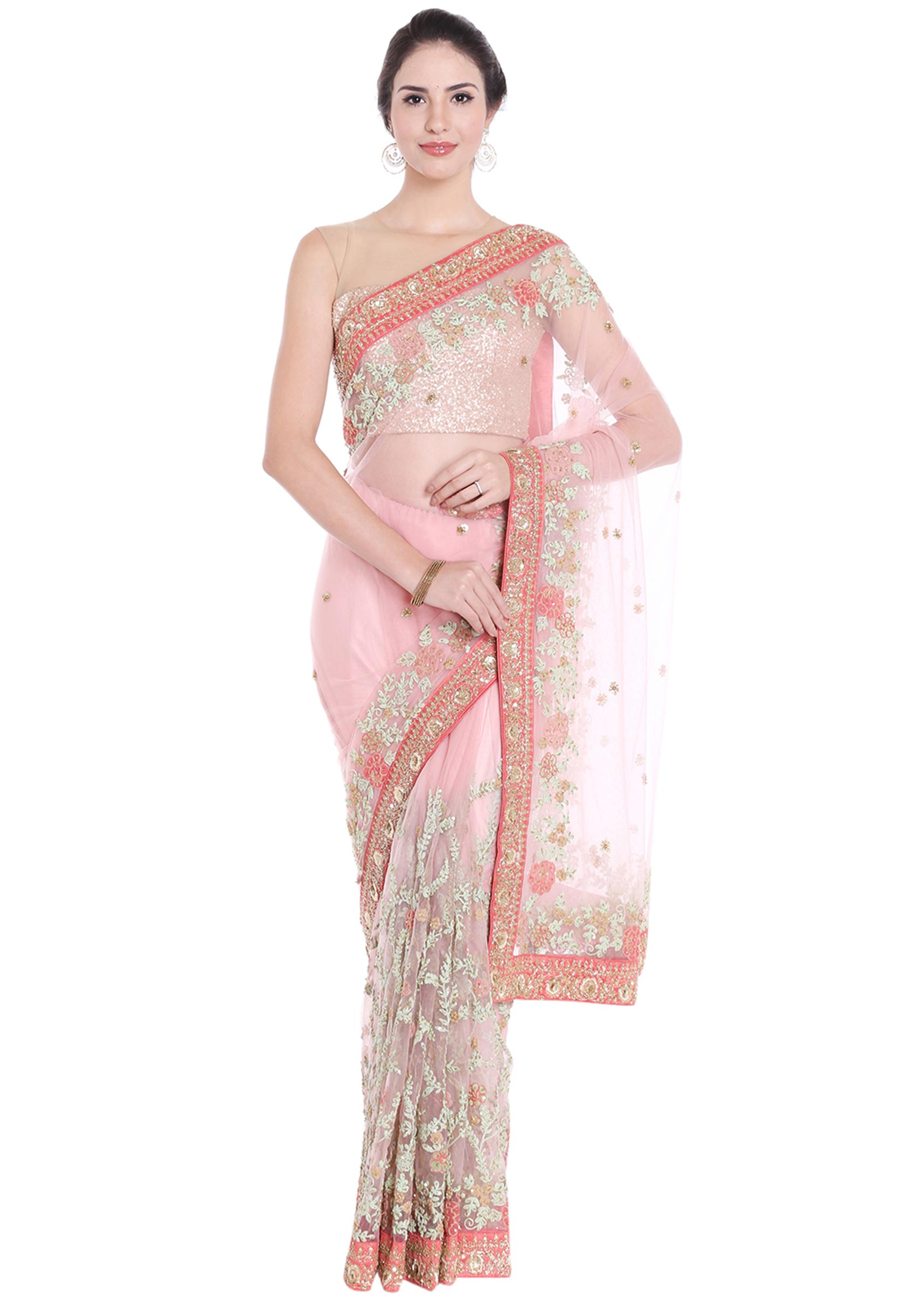 2e99426505572 Powder pink net saree in cod zari and resham embroidery only on Kalki