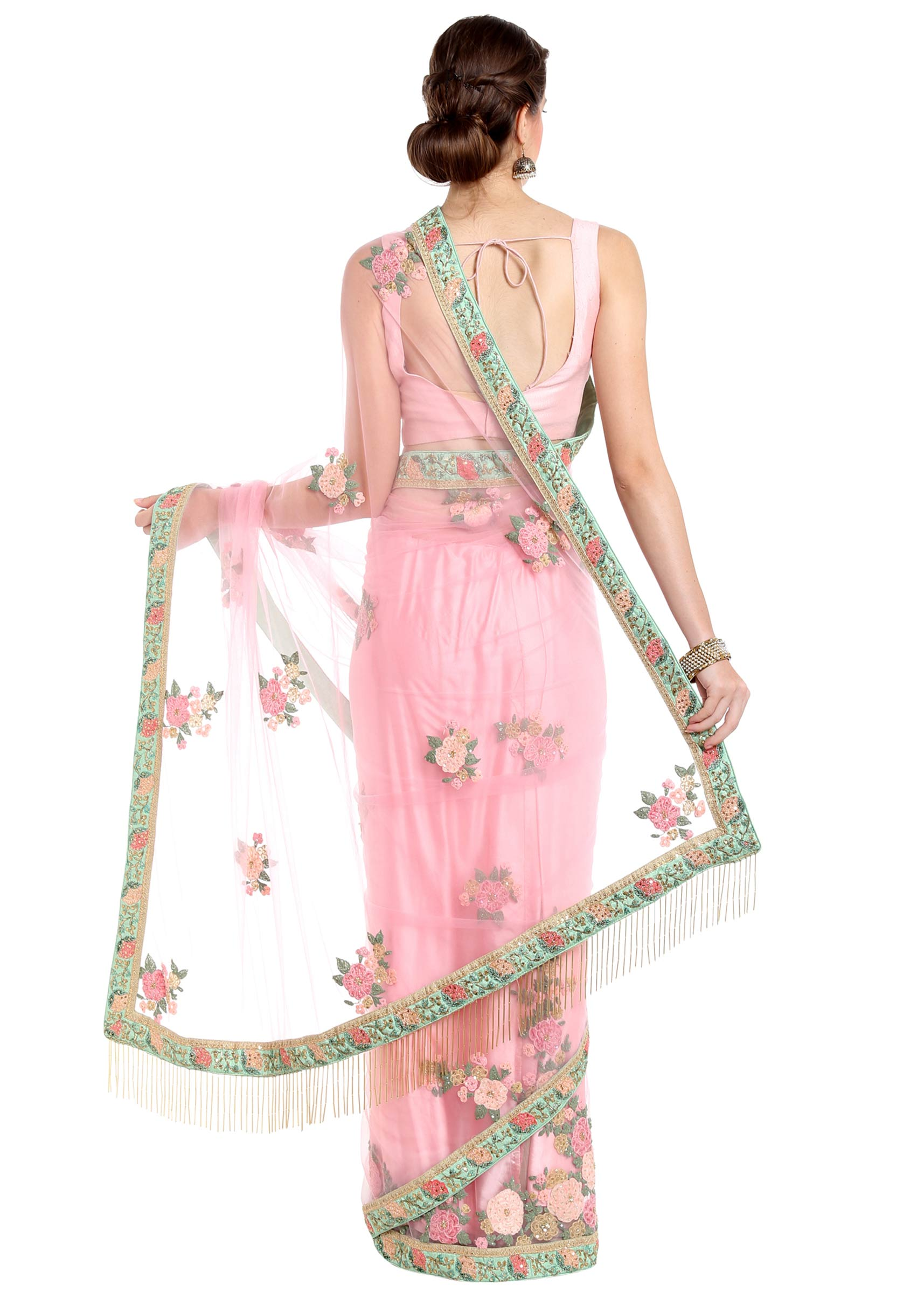 33339466440fa Powder pink saree in flower patch work embroidery only on Kalki
