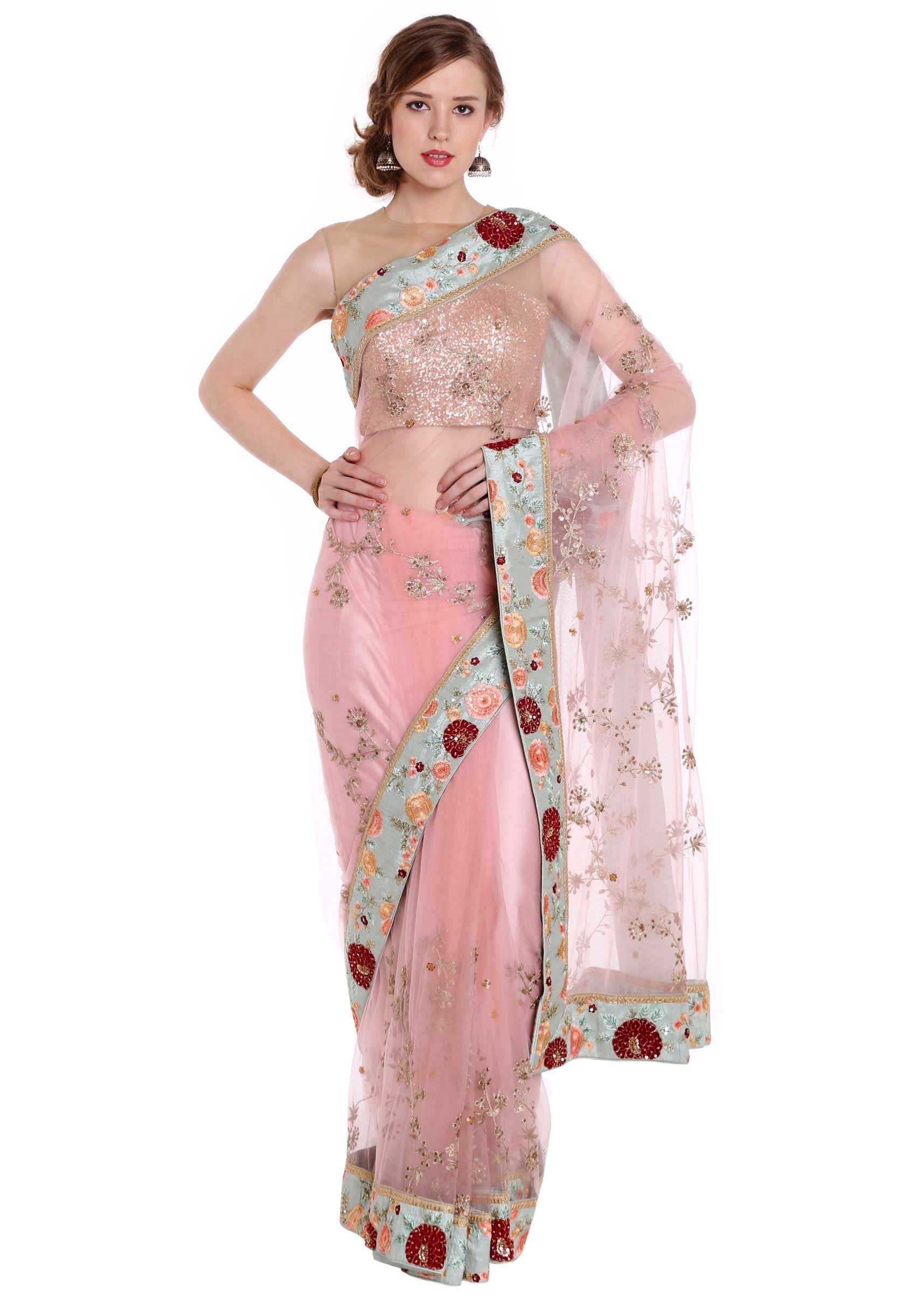 9507bf2fb20d1 Powder pink saree with floral embroidered border only on KalkiMore Detail