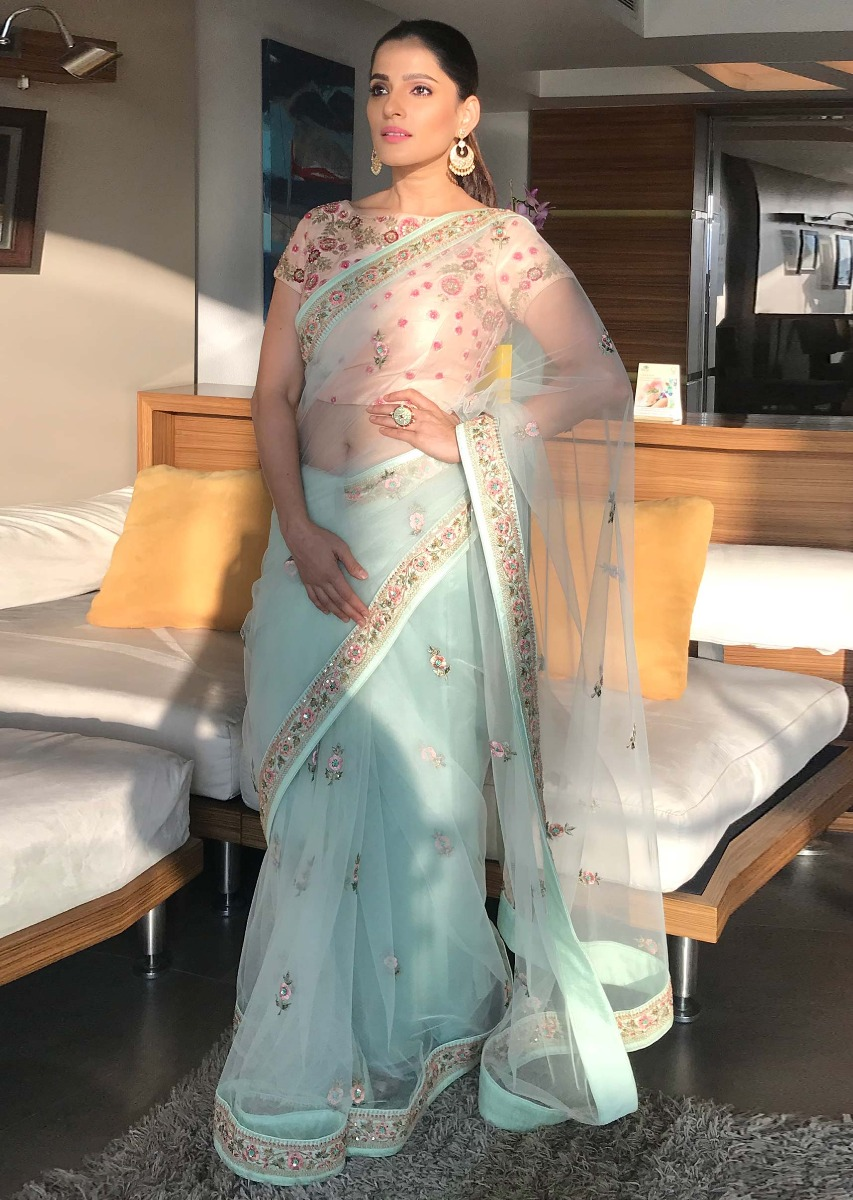 106f4b2aa2 Priya Bapat in kalki pista green net saree with floral resham embroidery  and butti
