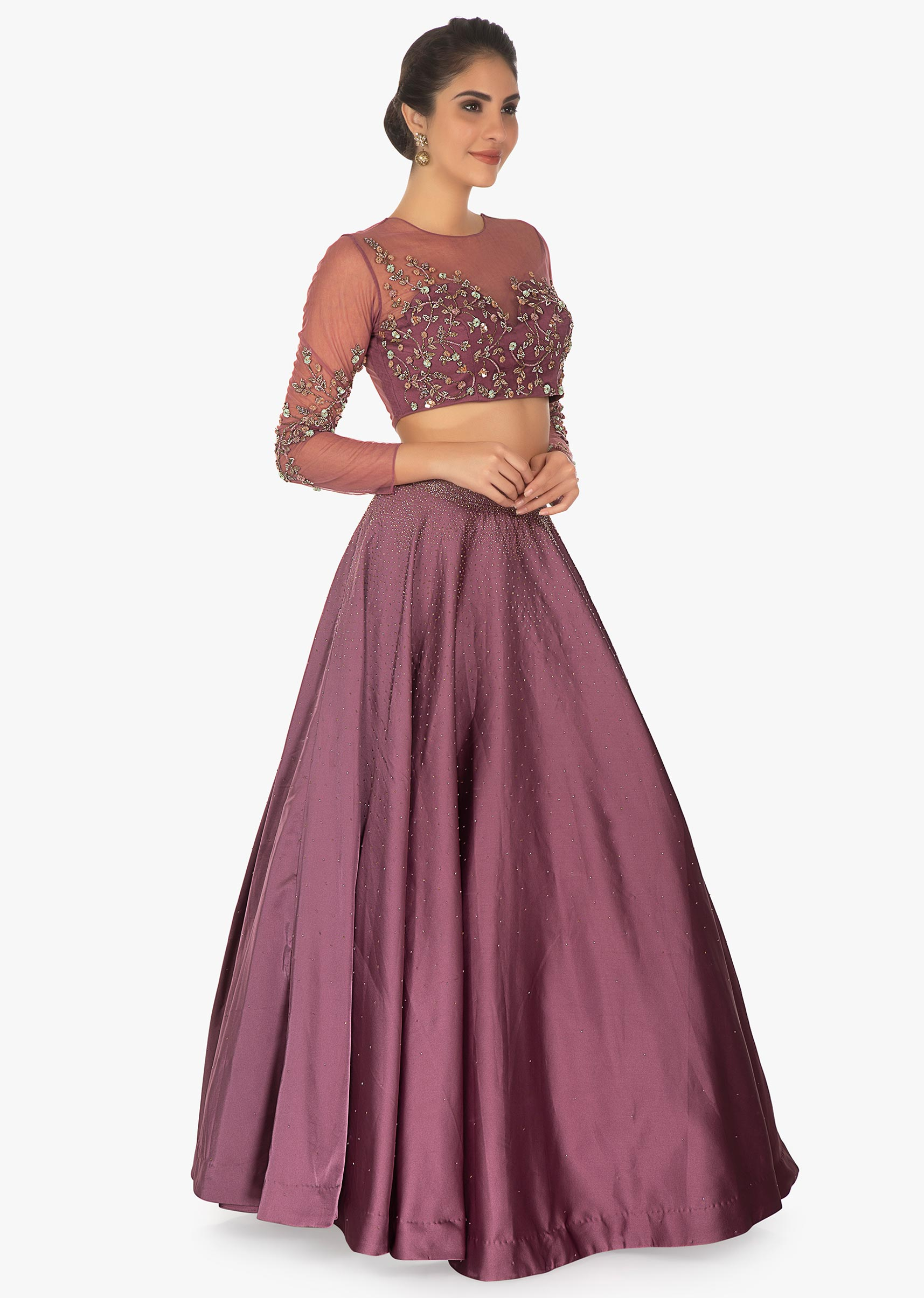 3a96ed8bd73a5 Purple crop top paired with valintino satin skirt along with net freels  dupatta only on Kalki