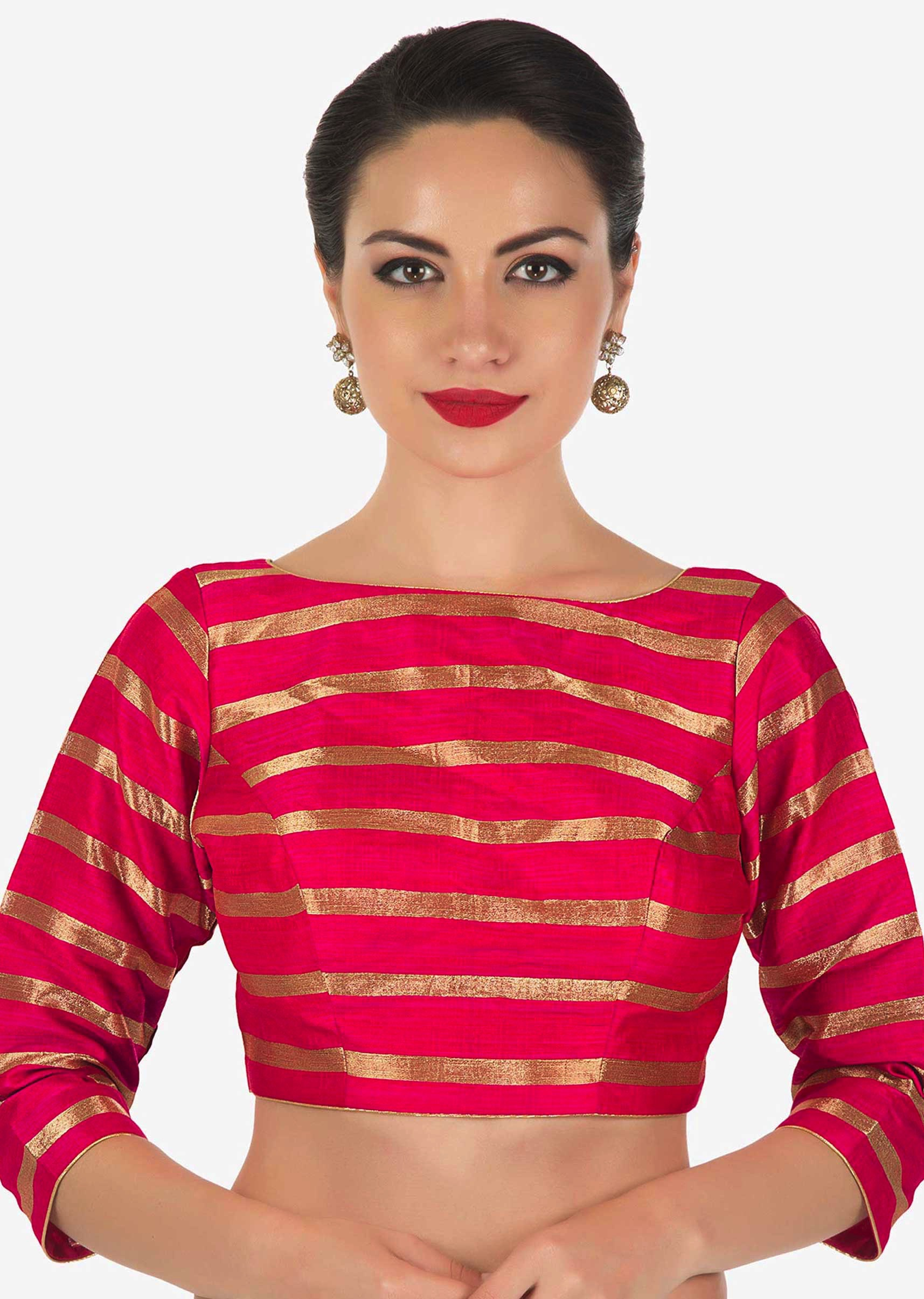 87ac7b994a58aa Rani pink blouse in silk with copper color weave in stripes motif only on  Kalki
