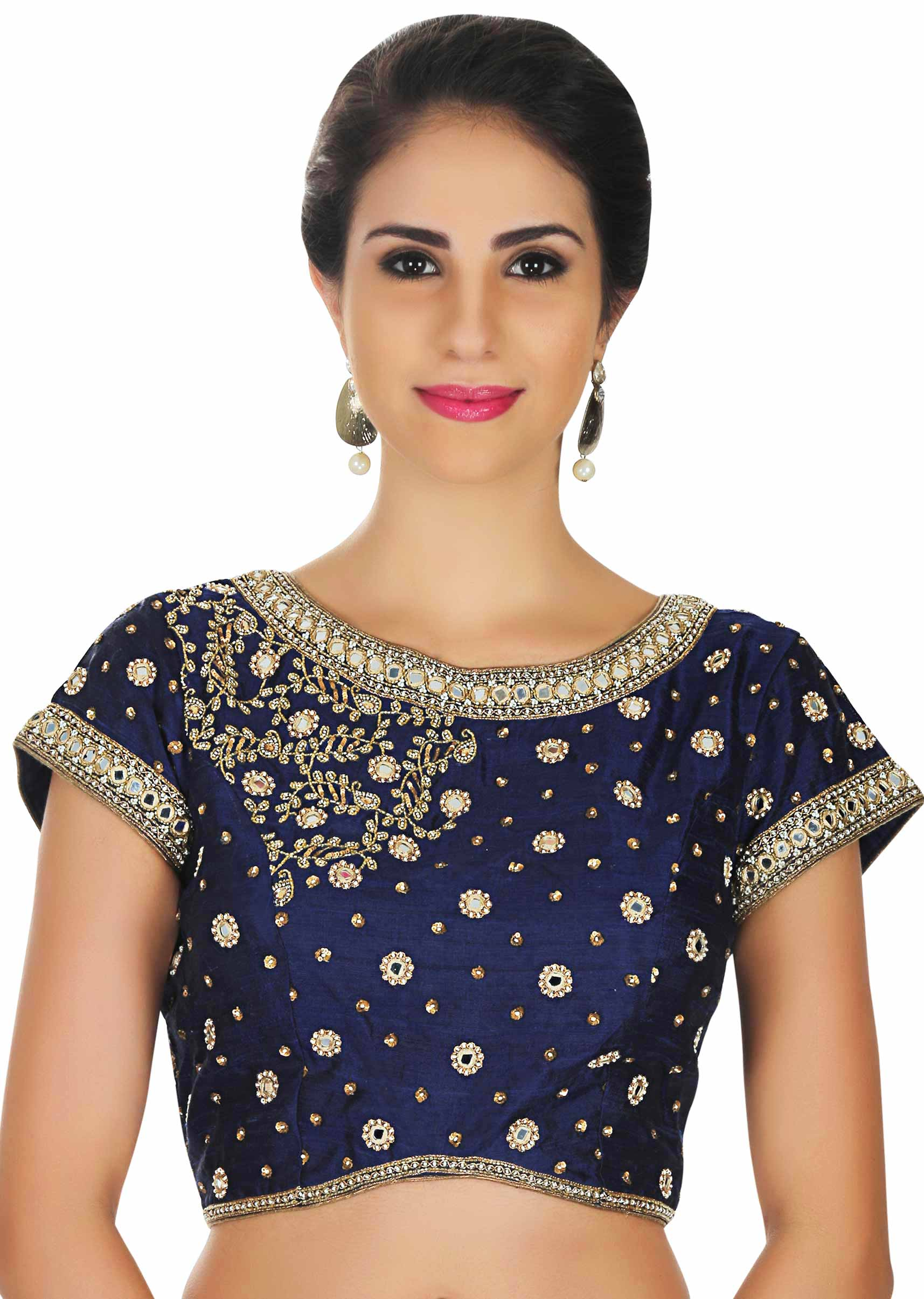 aed685de25f351 Raw silk blouse in navy blue with mirror embroidery only on Kalki