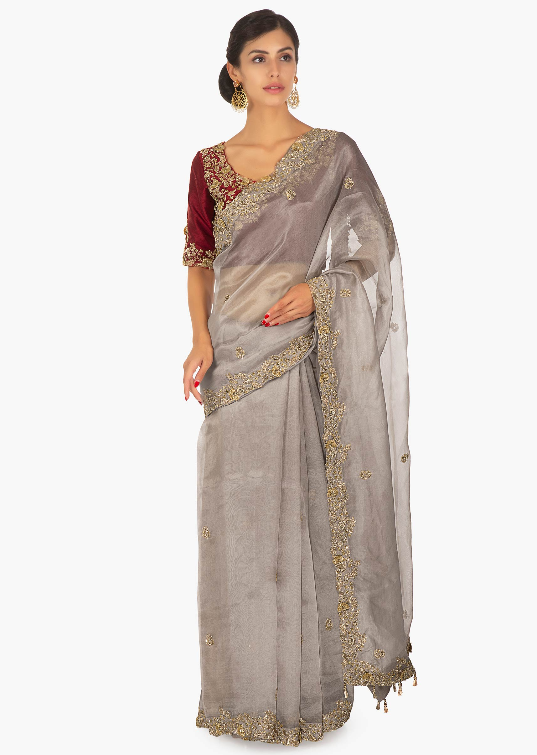 6e749a4ae2 Red raw silk embellished blouse paired with grey organza saree only on Kalki