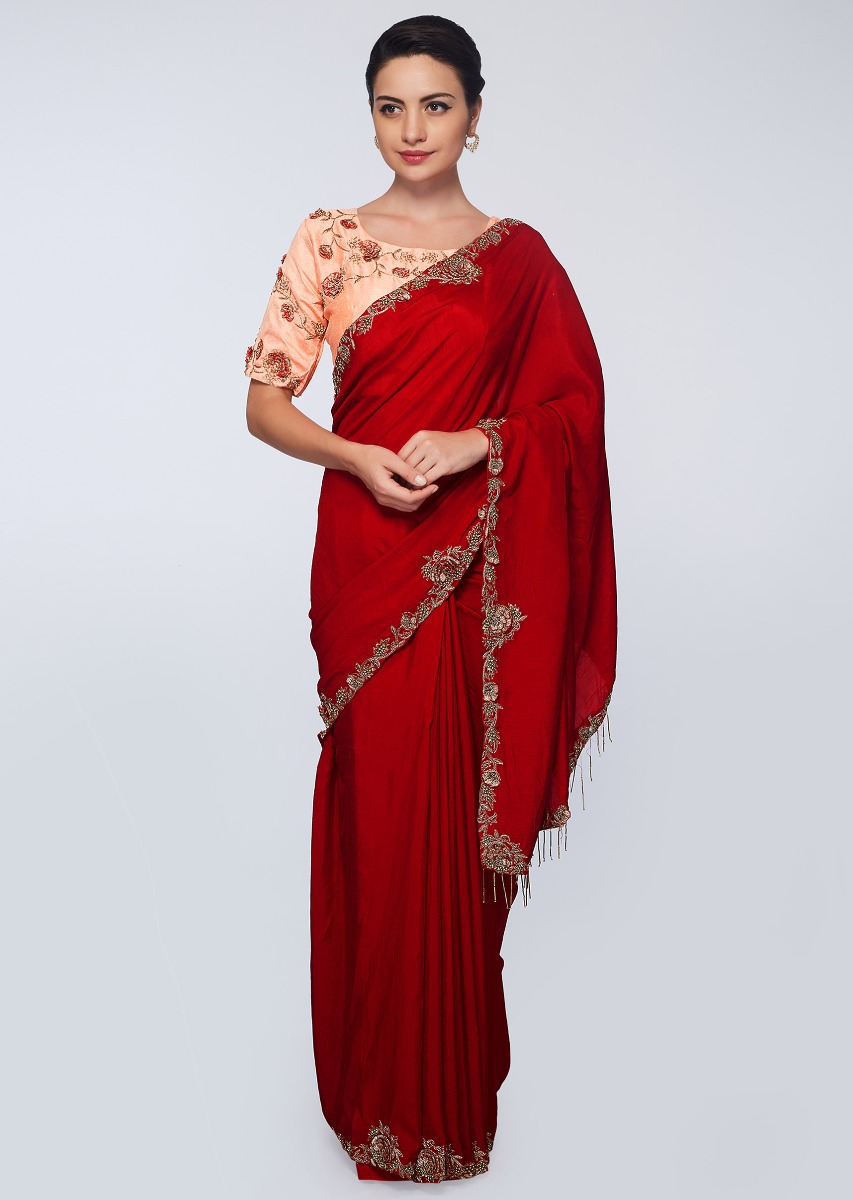 80dcecc12b659f Red raw silk saree with floral embroidered border only on KalkiMore Detail