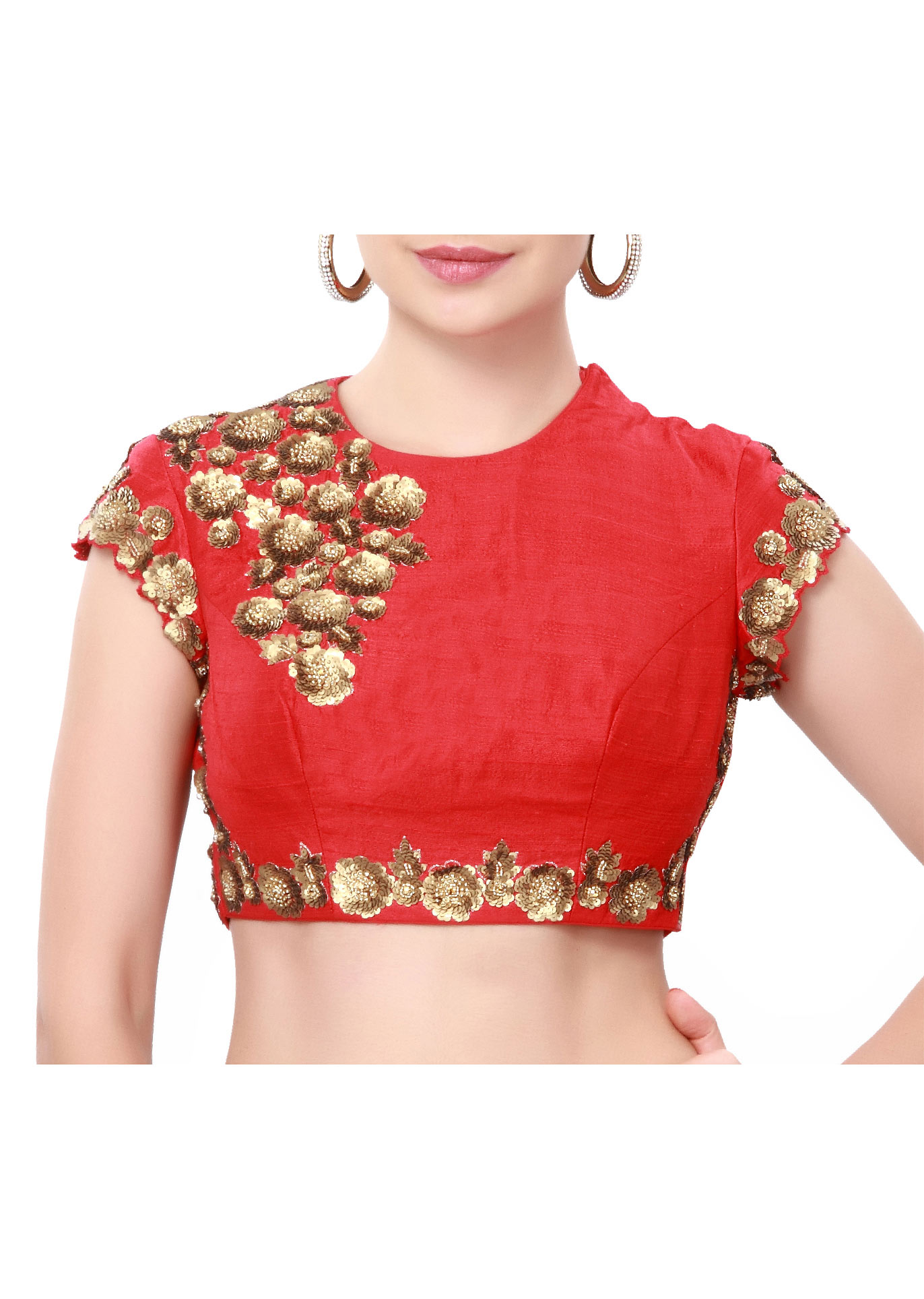 5b85de46d13ec2 Red blouse enhanced in sequin embroidery only on Kalki