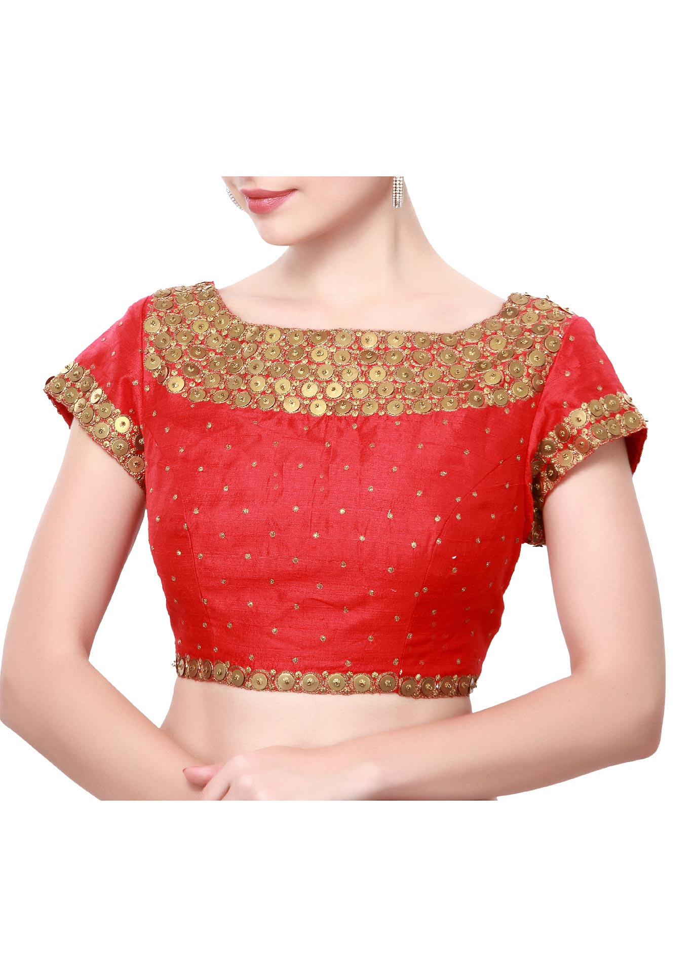 f1028da478c1cc Red blouse featuring in sequin embroidery only on Kalki