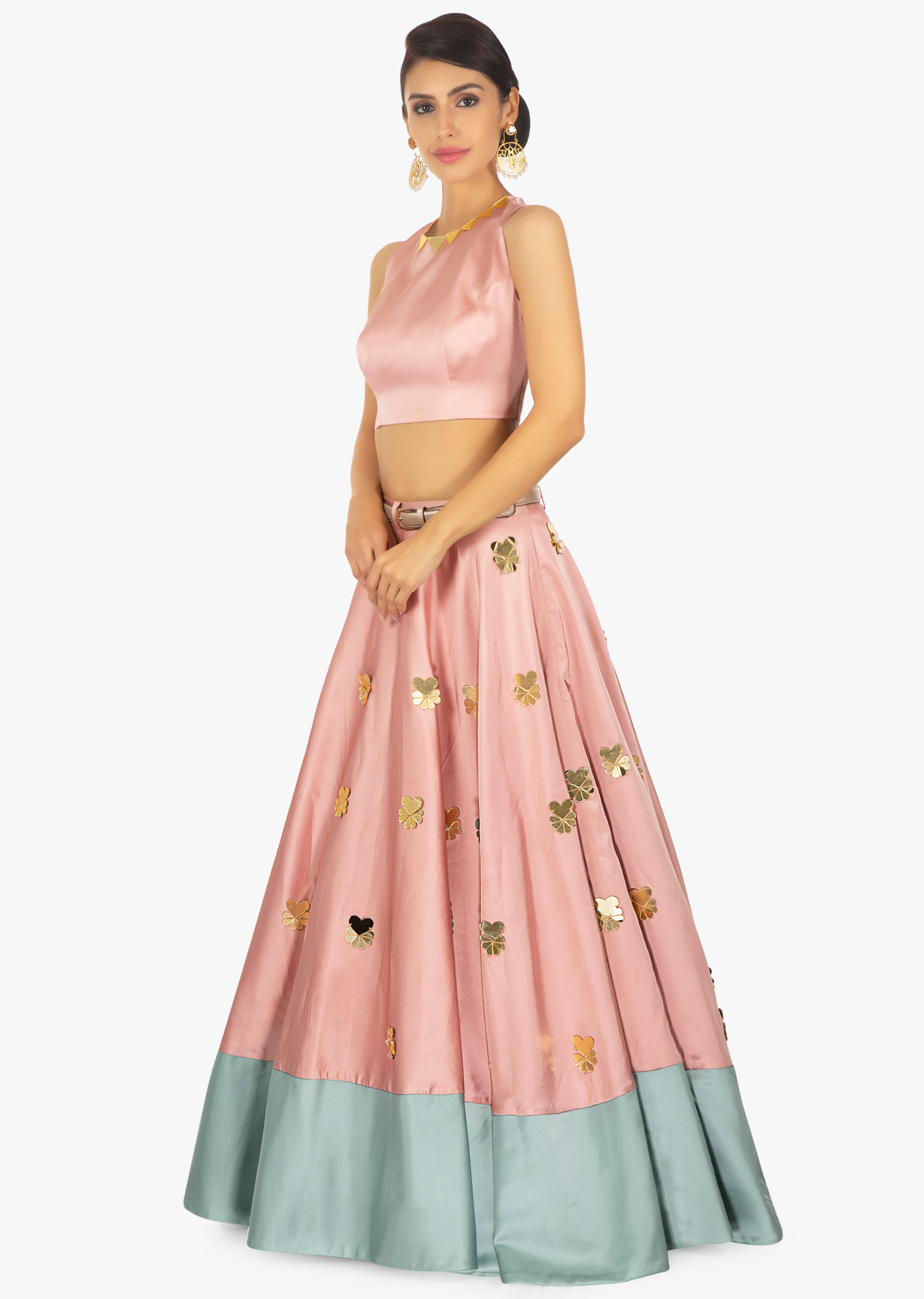 7fcdf9bcff3b7 Rose pink crop top pared with a rose pink and turq green skirt only on Kalki