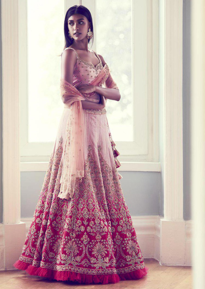 buy rose pink lehenga choli in ombre shaded raw silk online