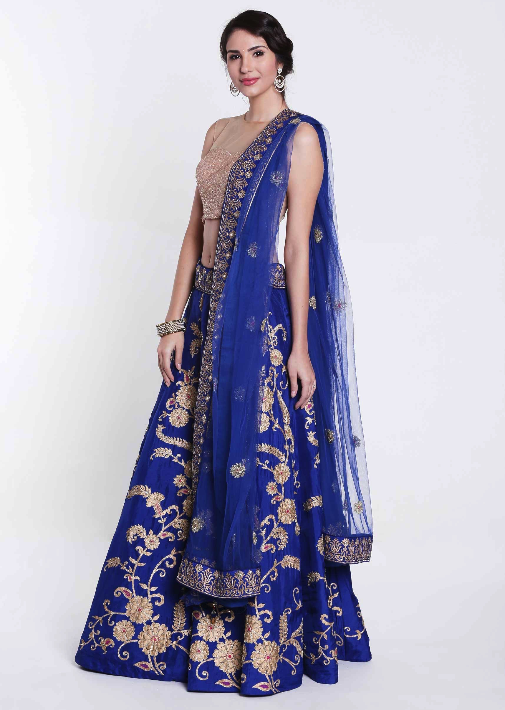 c18e56769a Royal blue lehenga in silk embellished in foil print only on KalkiMore  Detail