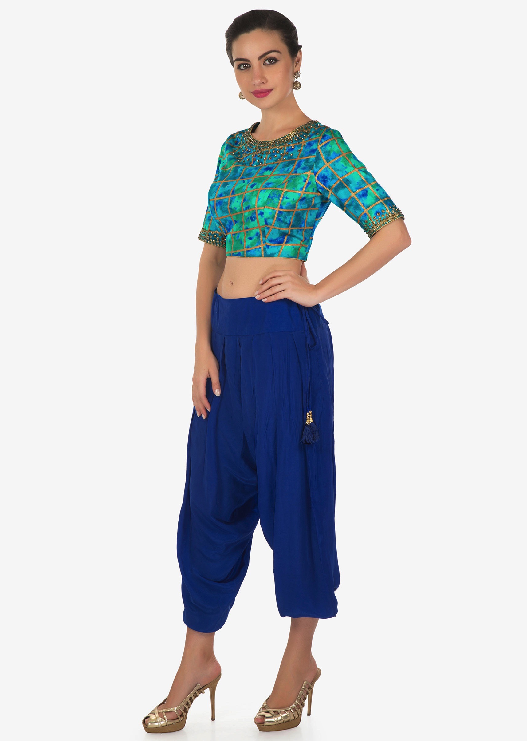 fe1d706b8fec7b Royal blue dhoti pants matched with shaded crop top blouse in kundan  embroidery only on KalkiMore Detail