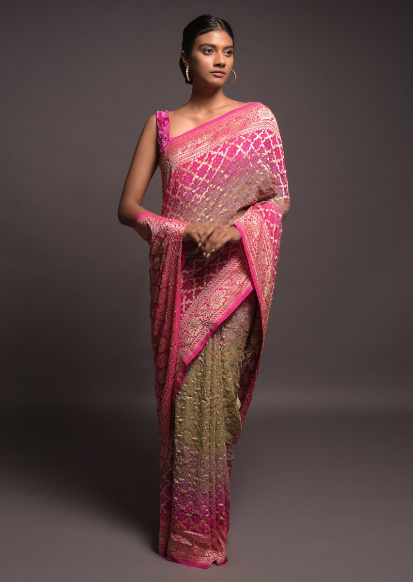 buy fuschia sage green ombre shaded saree online