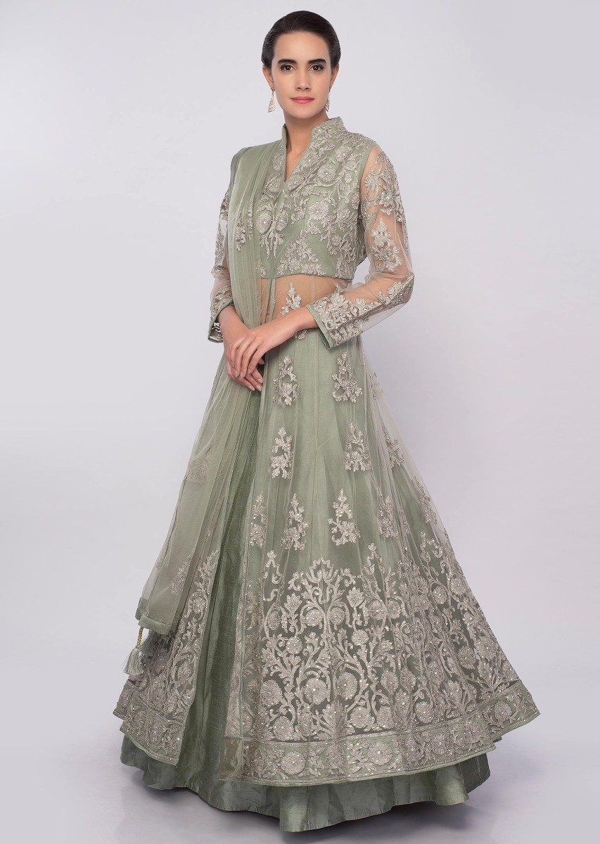 05584f9cddf550 Sage green lehenga with long net embroidered top only on KalkiMore Detail