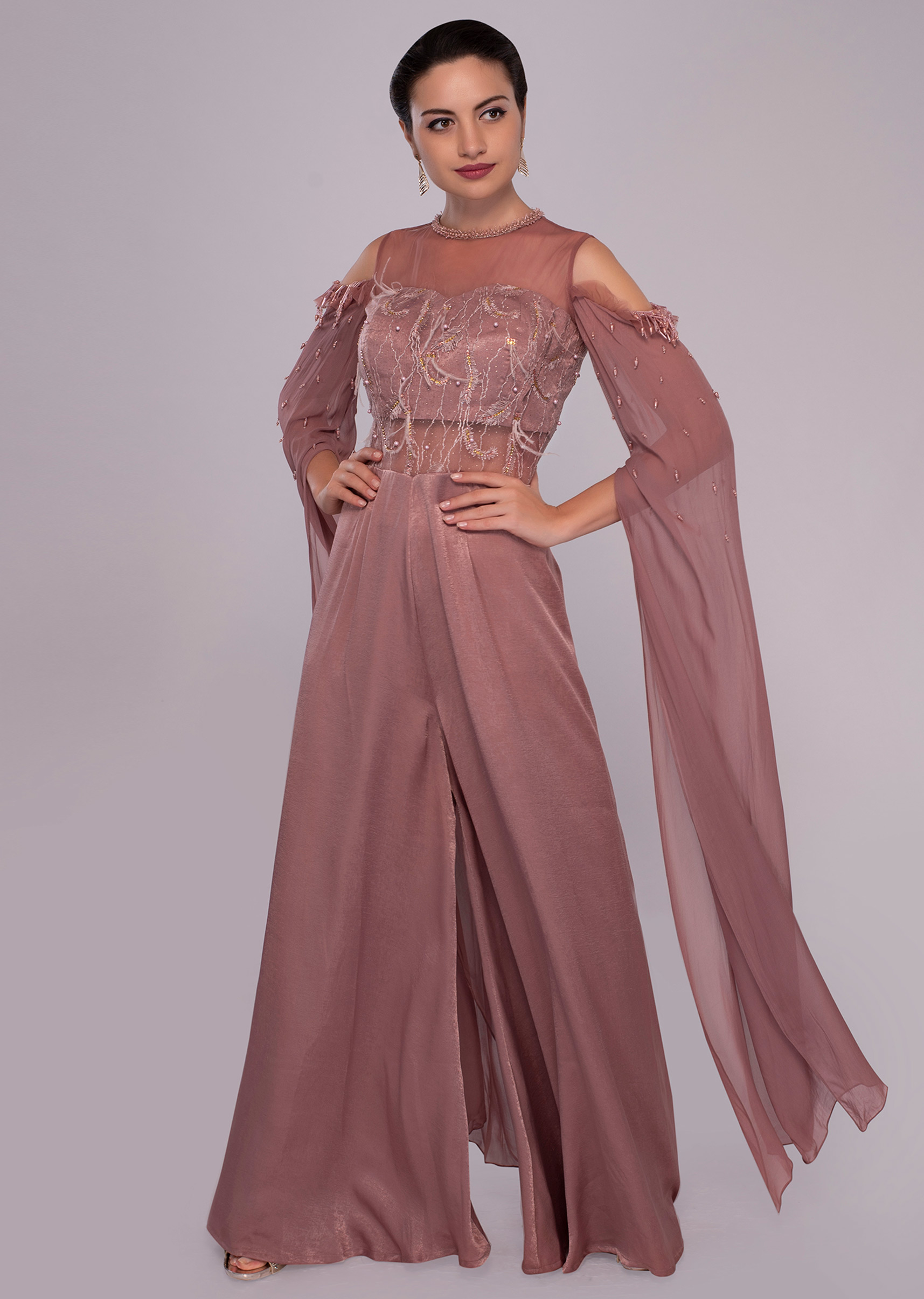c8b3bc307ef Sandstone pink jumpsuit with cold shoulder flared sleeves only on KalkiMore  Detail