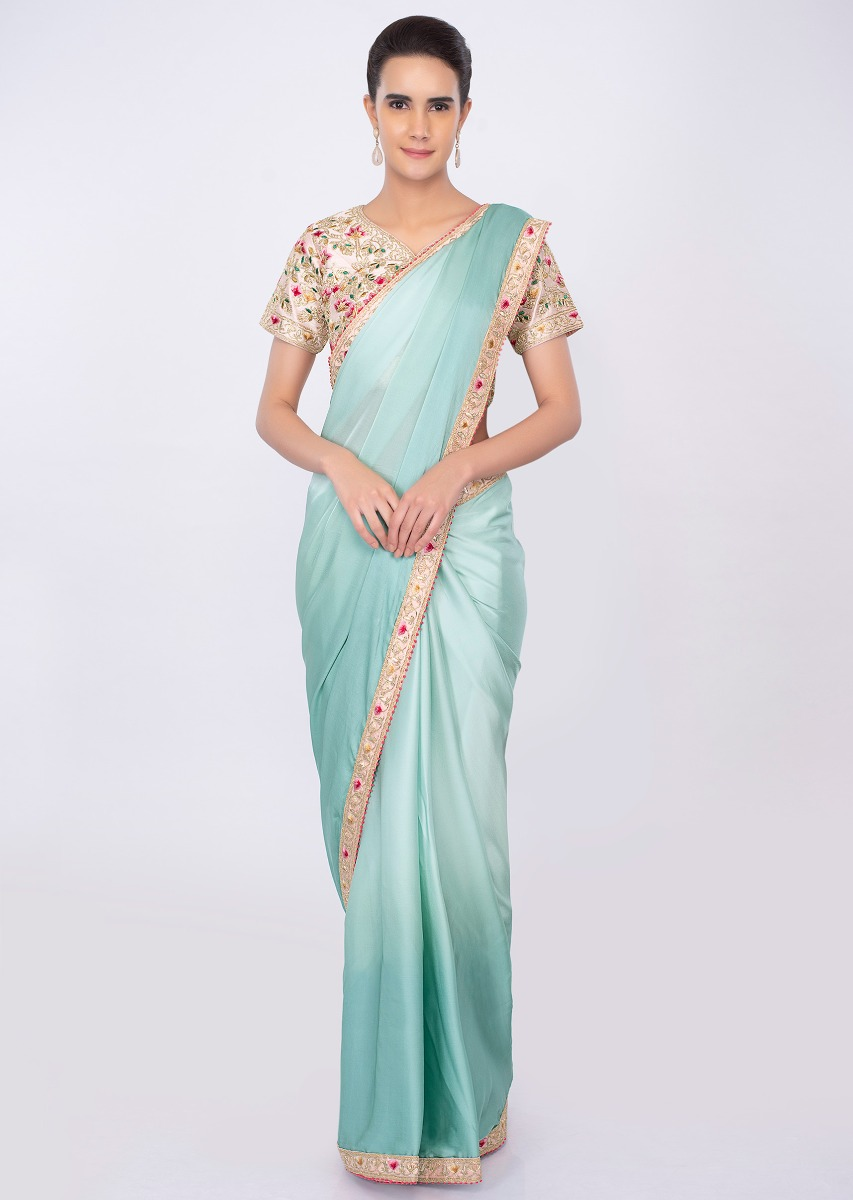 210444c99e608 Satin crepe shaded saree in tone of blue only on kalki