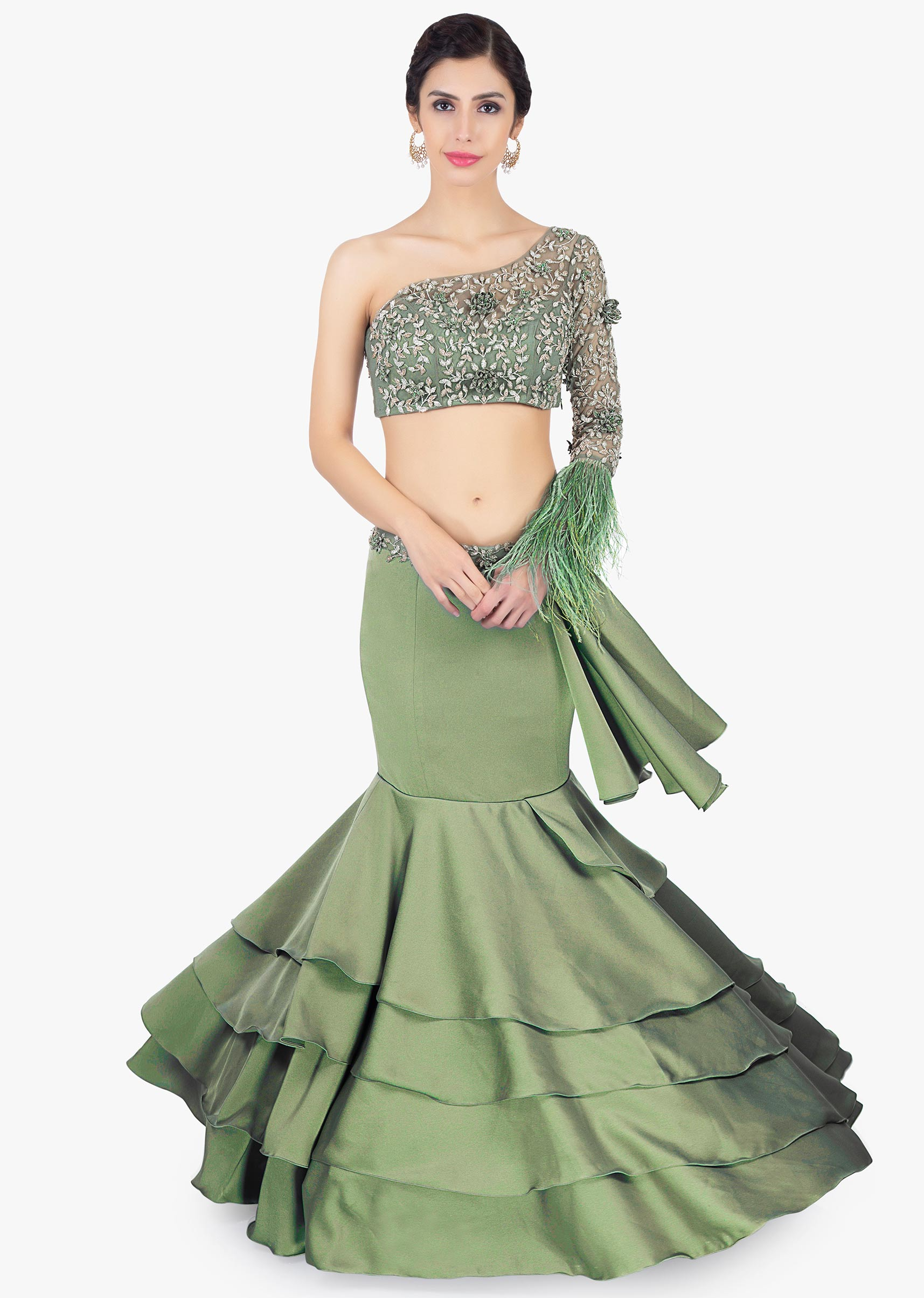 c8c5b441a5c2b Satin green fish tail layered skirt paired with one shoulder crop top only  on Kalki