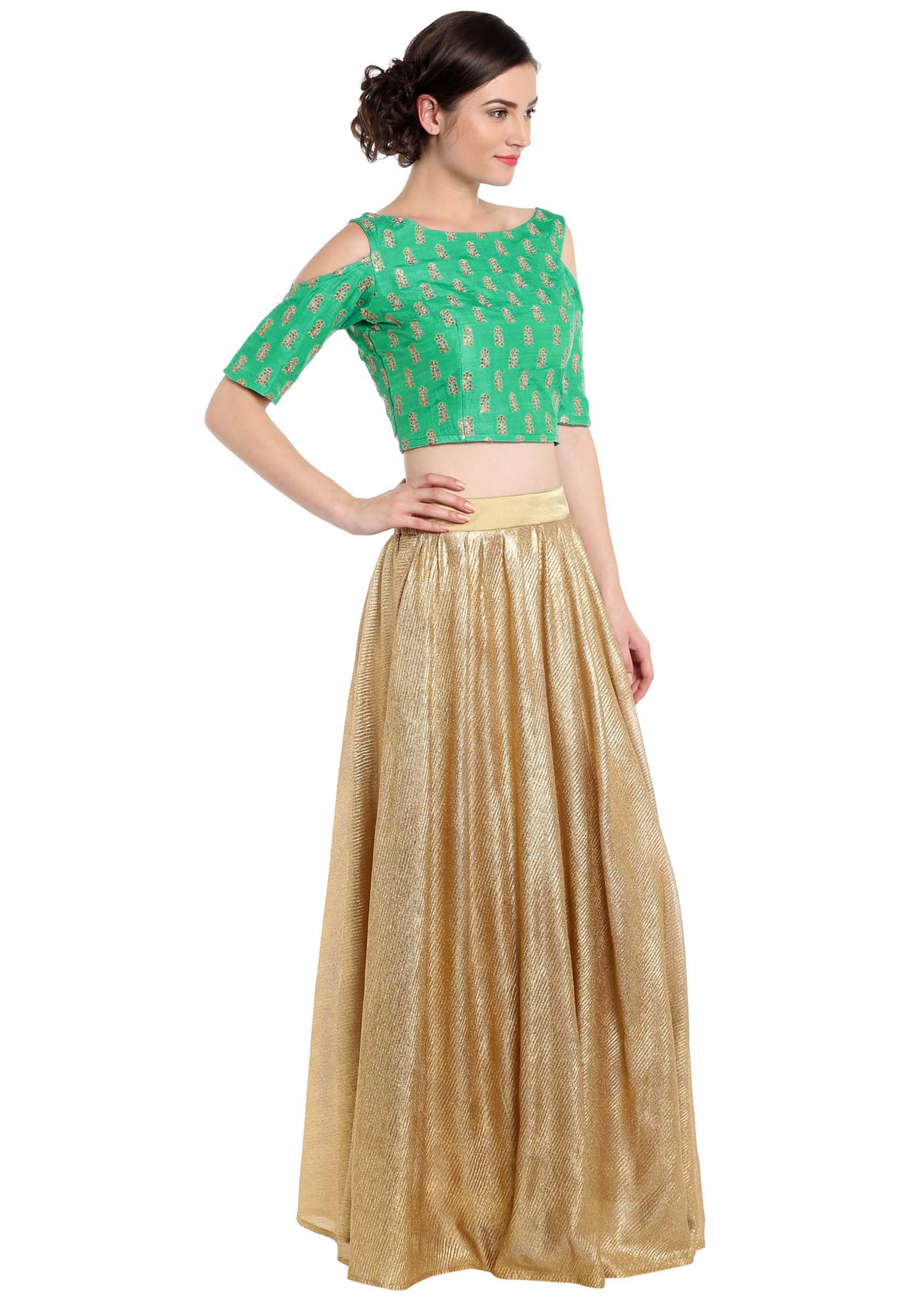 b2cc41d324b186 Sea green crop top blouse with gold shimmer skirt only on KalkiMore Detail