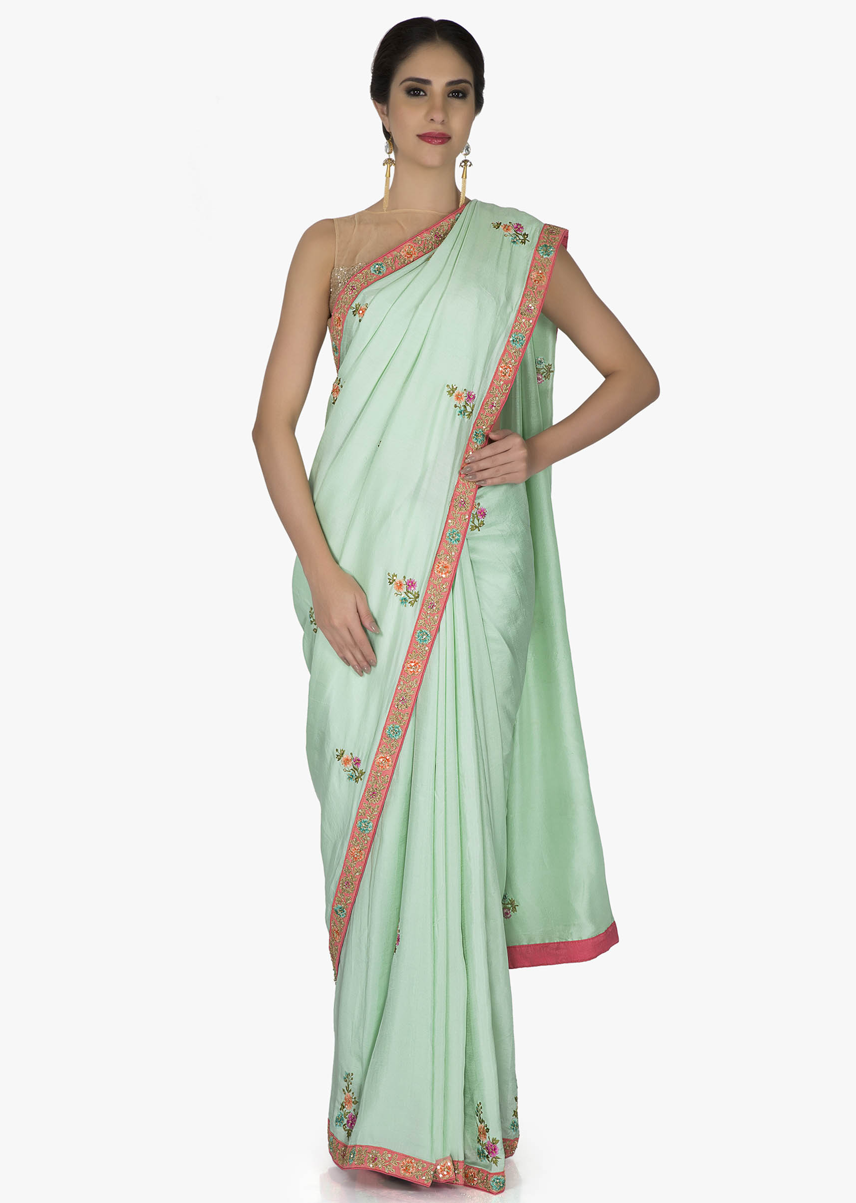 283cdf7ca2400 Sea Green Silk Saree and Pink Raw Silk Blouse with Resham Butti and Sequins only  on