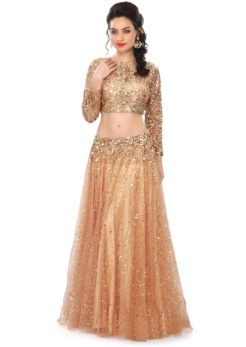 331aa715b4 Gold lehenga embellished in sequin embroidery