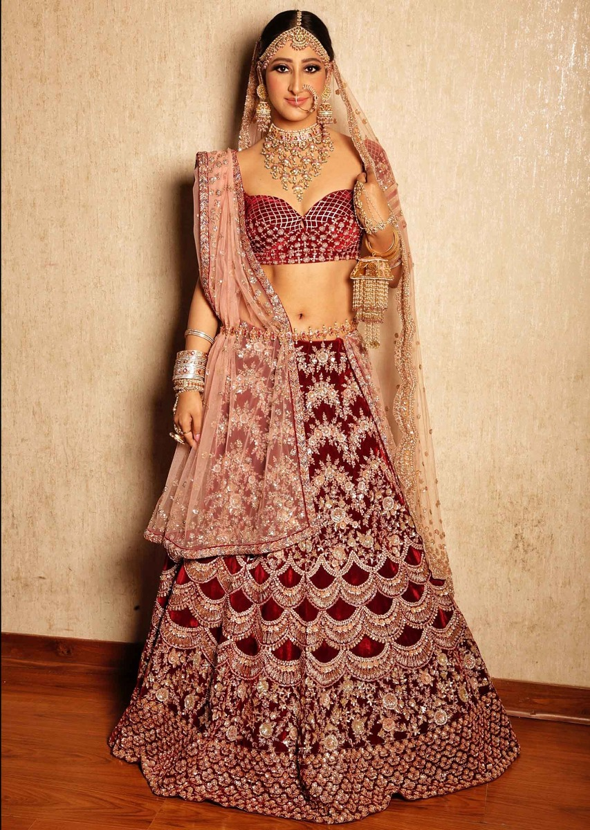 42d026a47801a Shivya Pathania in Kalki Maroon velvet heavy embroidered lehenga with pink  net dupatta
