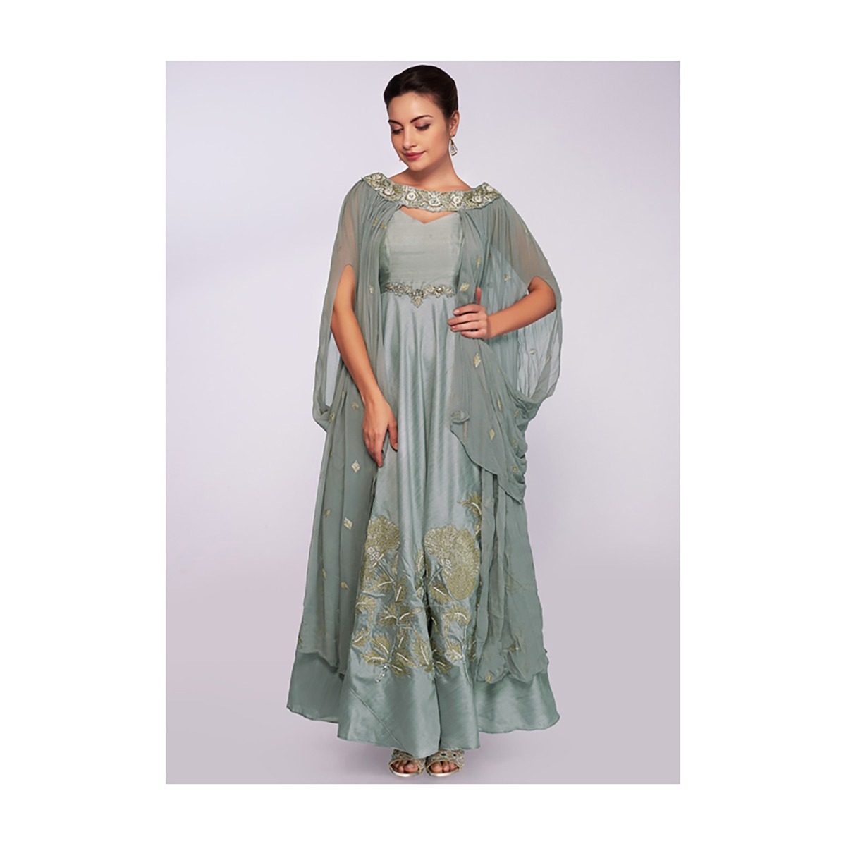 6faf566bb61 Silver grey anarkali gown with cowl drape fancy dupatta only on KalkiMore  Detail