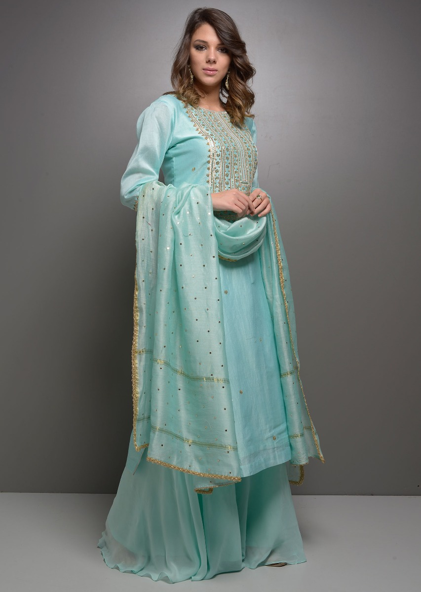 db00d424be Sky blue chanderi suit in gotta and tikki embroidery