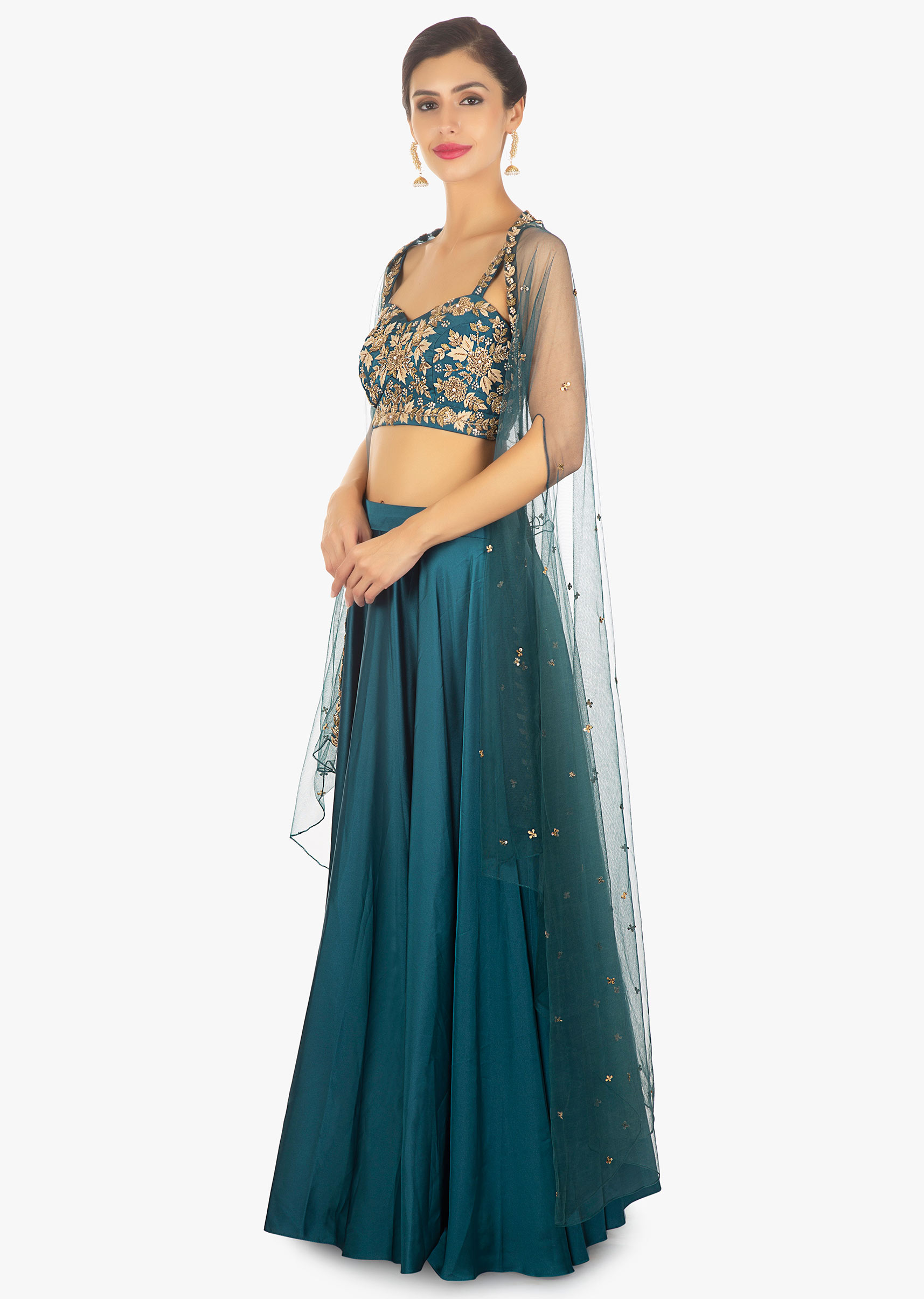 c87965ee9e98f Teal blue satin skirt and crop top paired with long net jacket only on Kalki