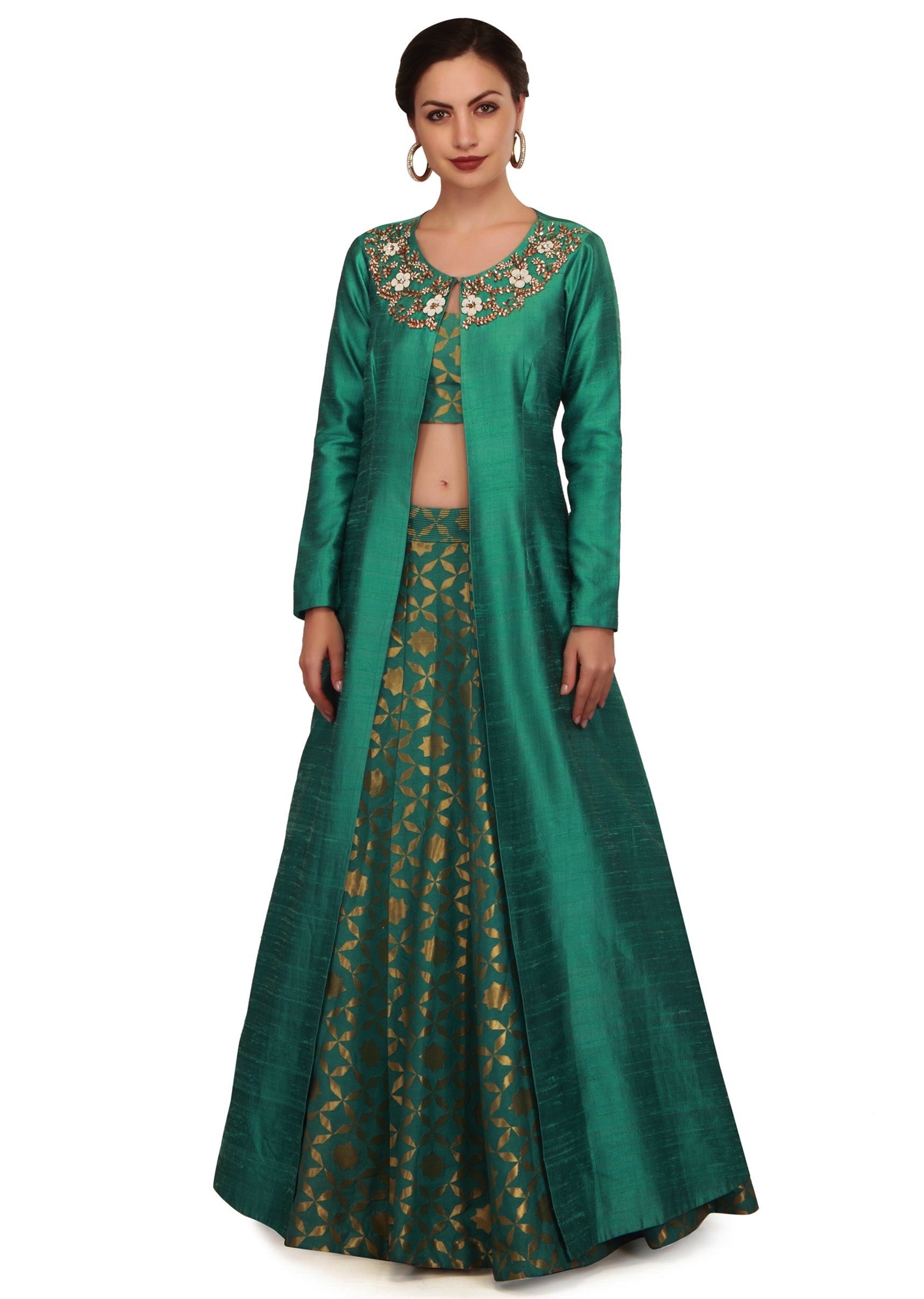 24c392b7b8b1f9 Teal green lehenga with neckline embroidered jacket only on KalkiMore Detail
