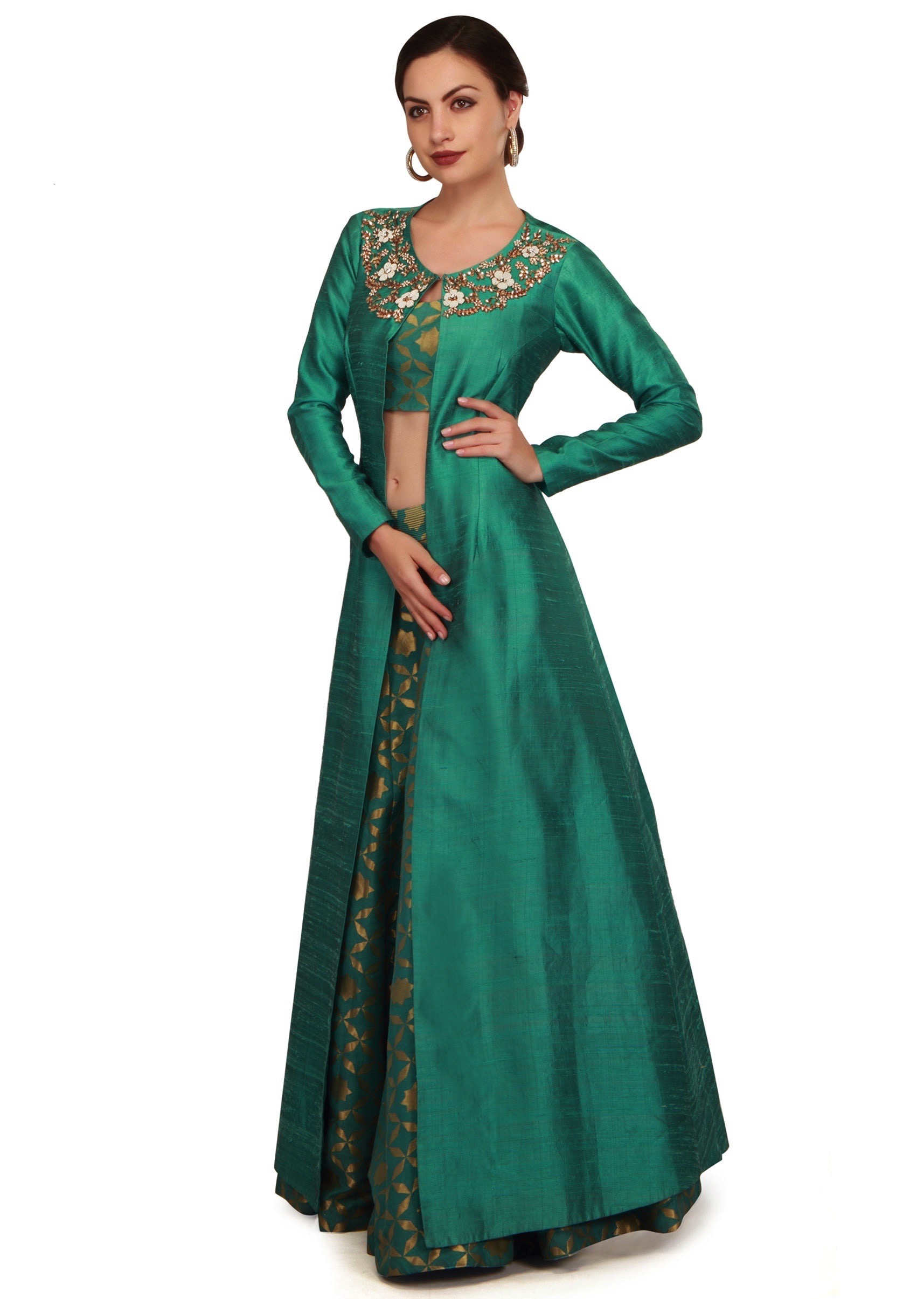 8262972aa4ced5 Teal green lehenga with neckline embroidered jacket only on Kalki