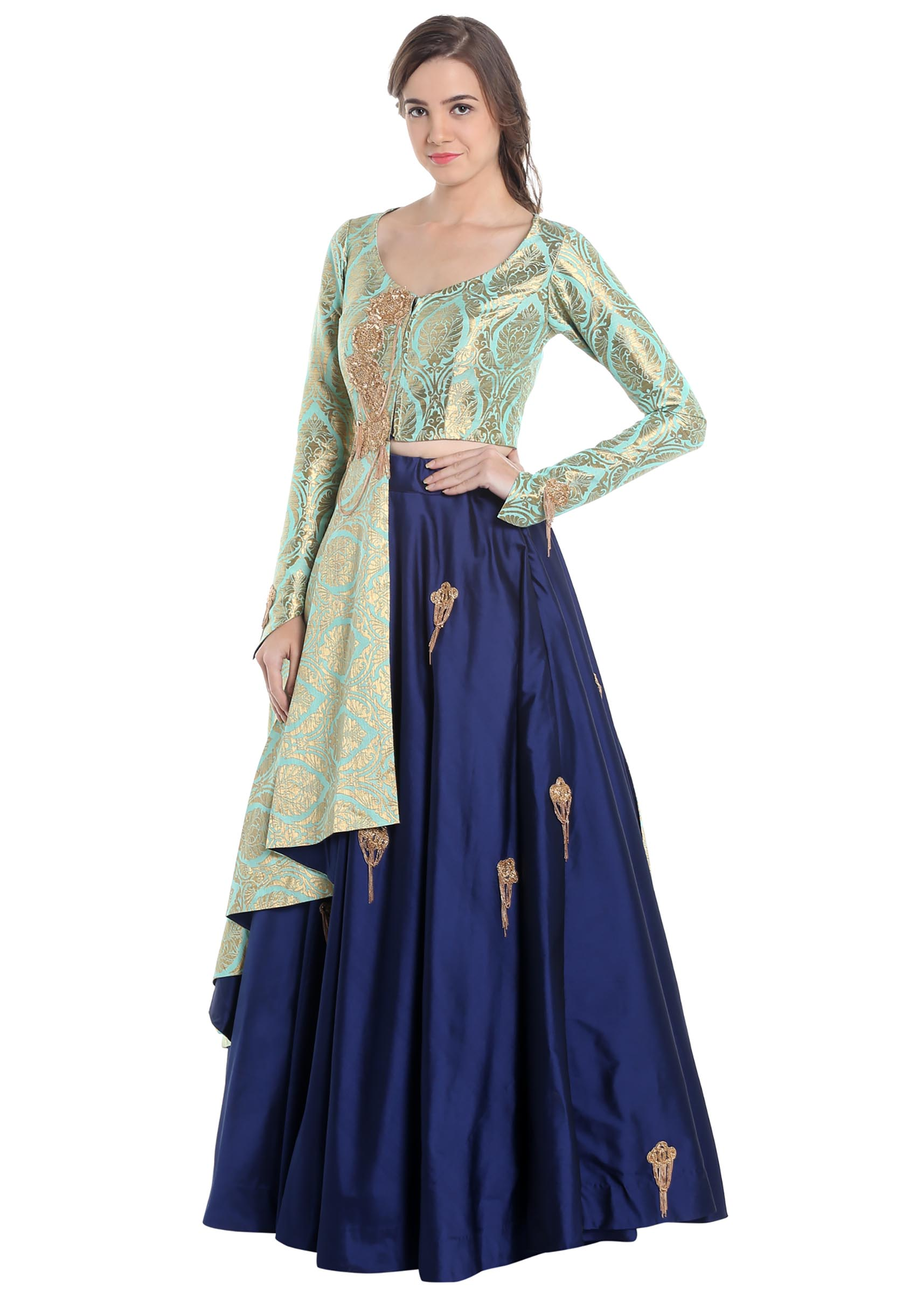 c3ab23d363 Turquoise and navy blue lehenga choli with brocade work only on Kalki