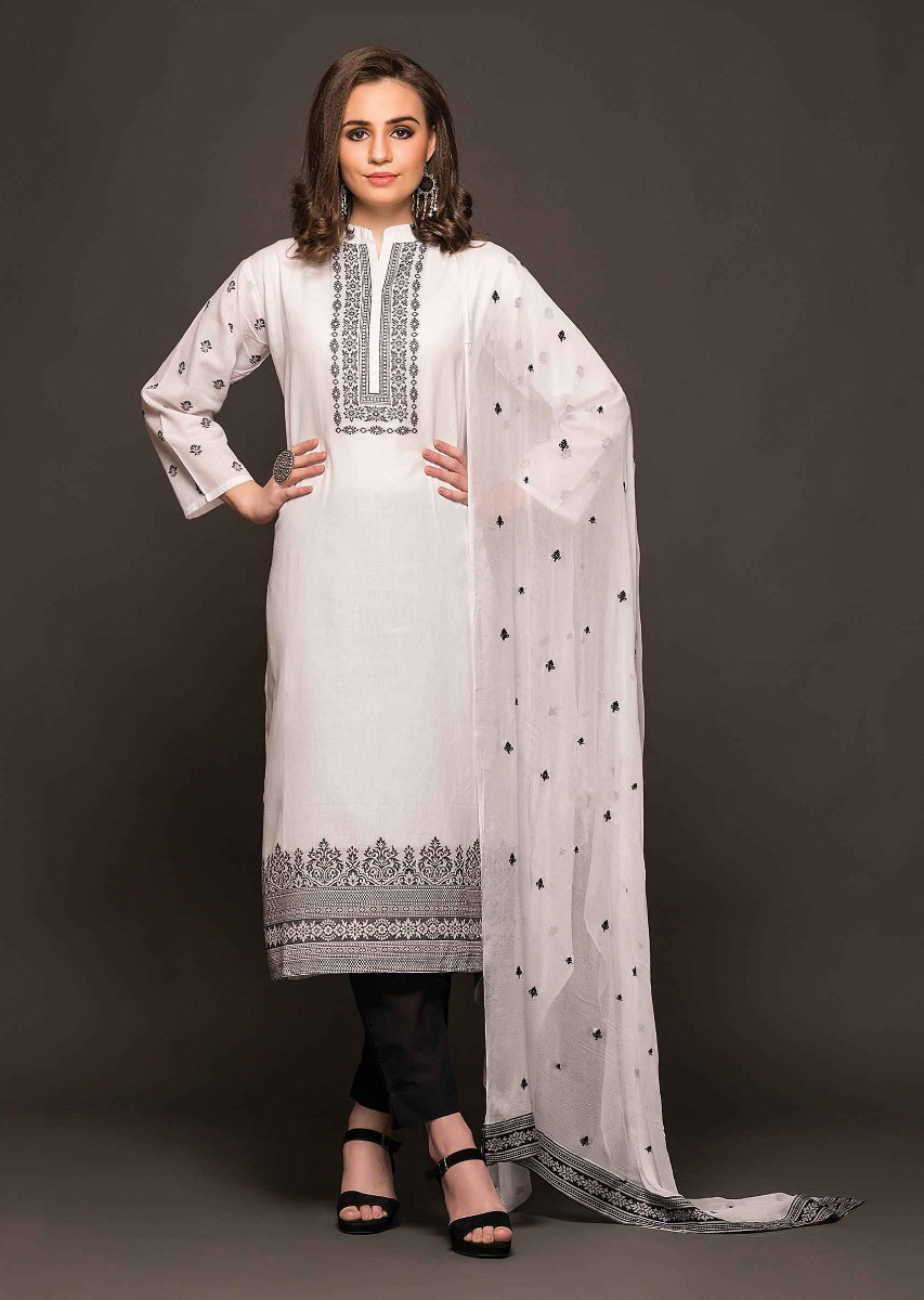 bc493d7592 White unstitched suit featuring in cotton with black weaved embroideryMore  Detail