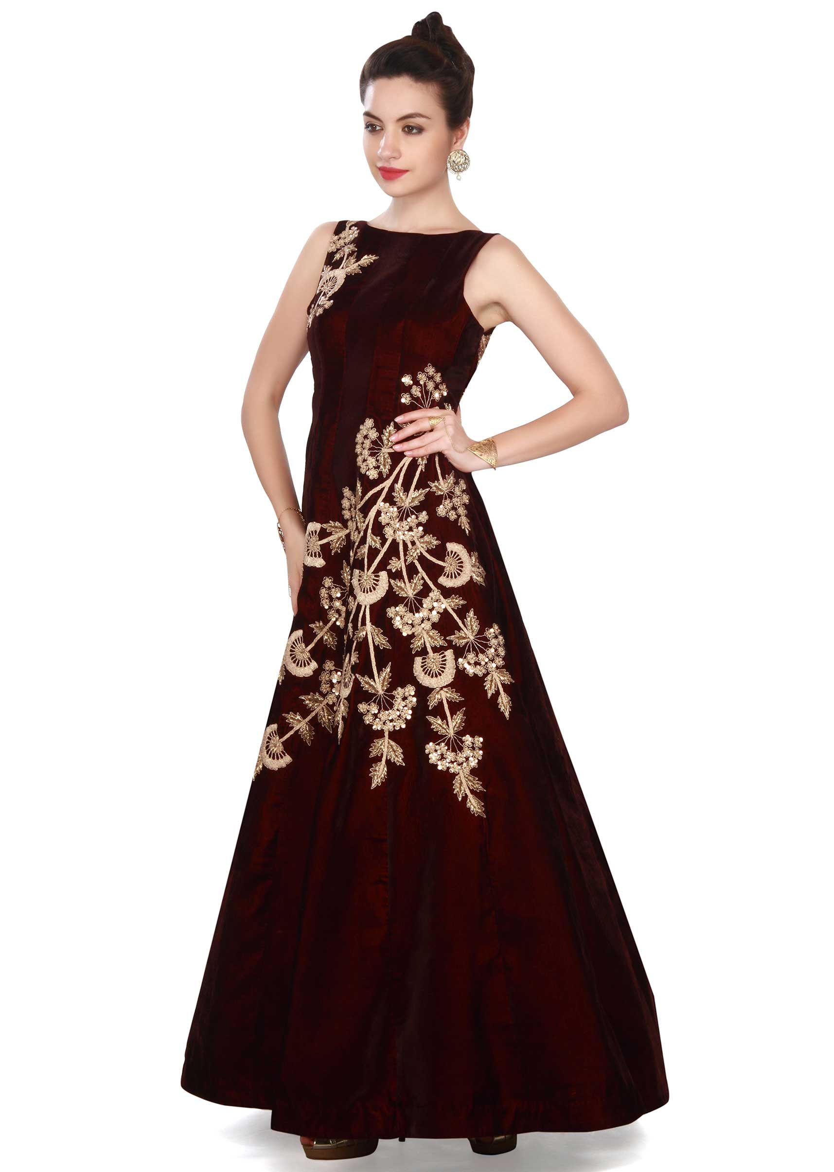 761989313ee2db Wine gown adorn in zari and sequin in floral embroidery only on KalkiMore  Detail