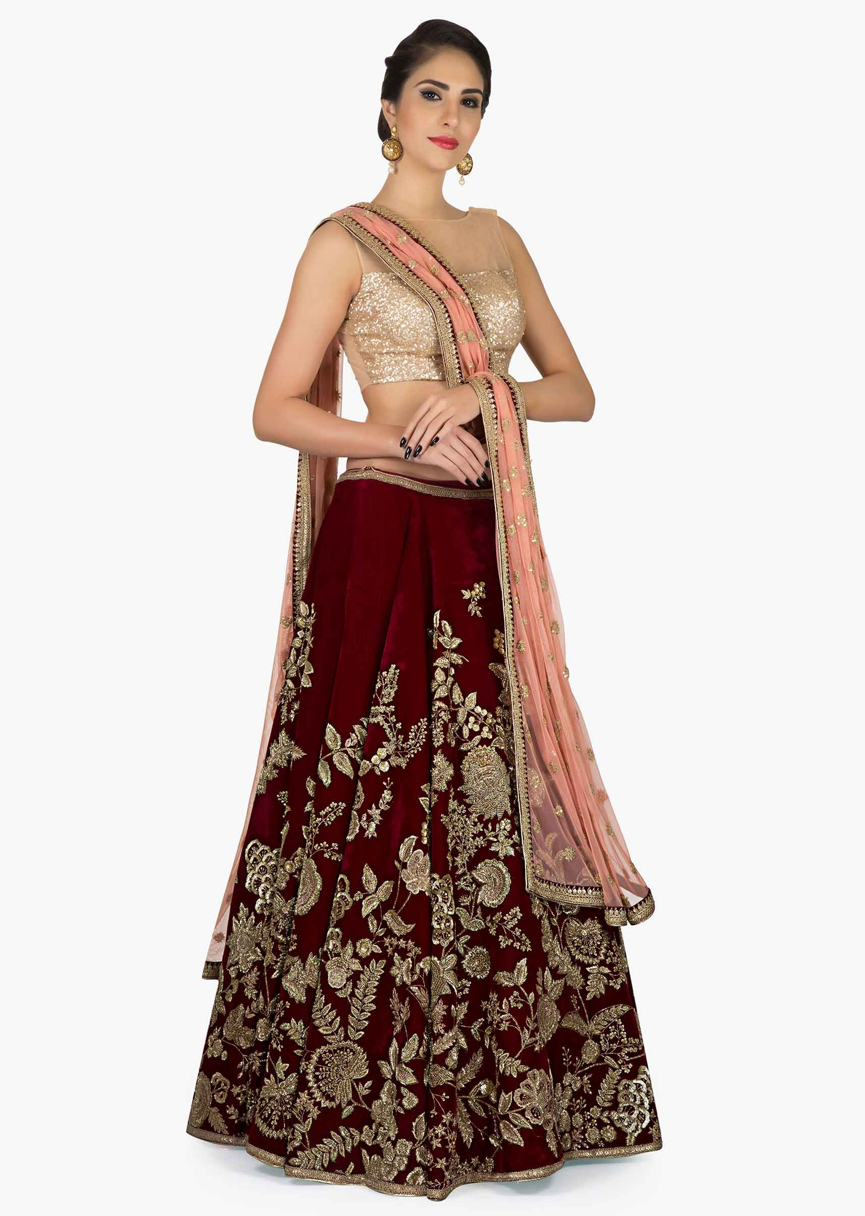 9a2835978e Wine Velvet Lehenga with Pink Dupatta featuring the detailed Zari Zardosi  Work only on KalkiMore Detail