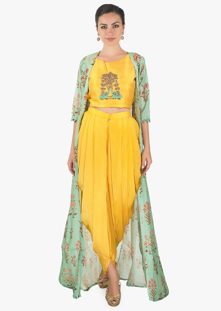 dcf86f39d7424c Yellow crop top matched with fancy dhoti pant and a full length floral  jacket only on kalkiMore Detail