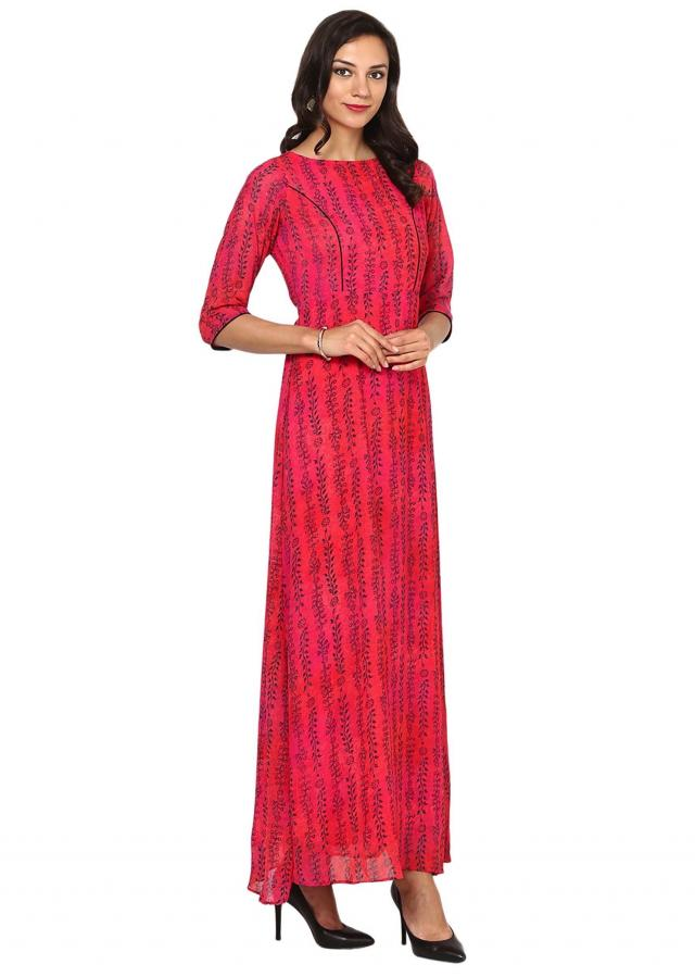 Fuchsia A-Line printed Maxi dress